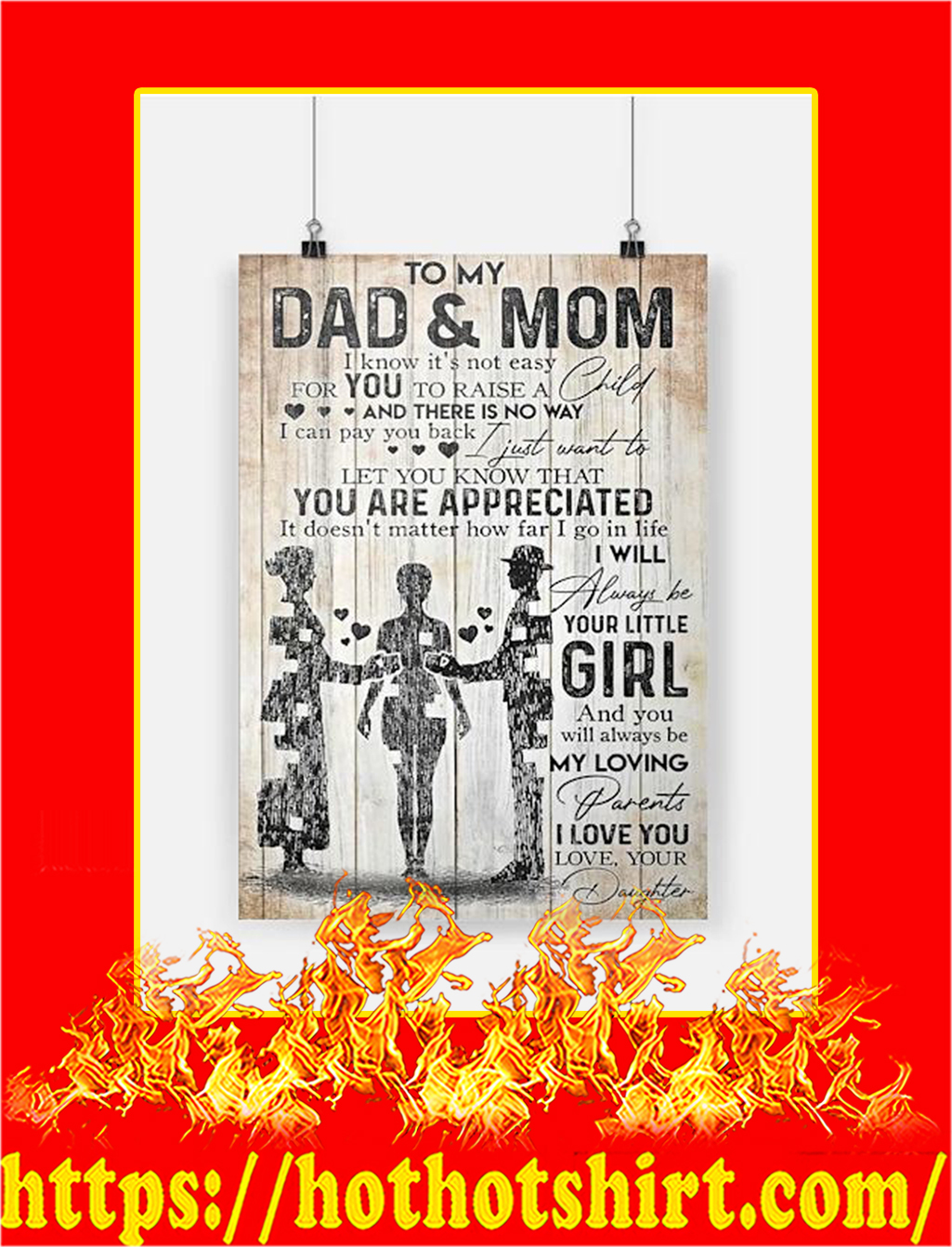 To My Dad And Mom Daughter Poster - A4