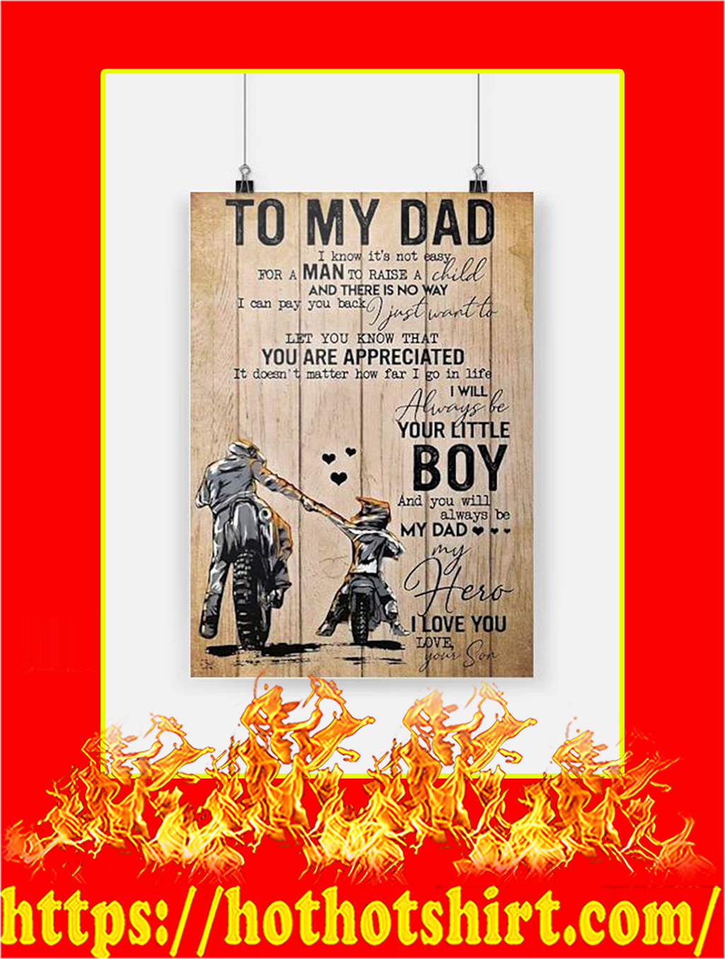To My Dad Son Biker Poster - A4