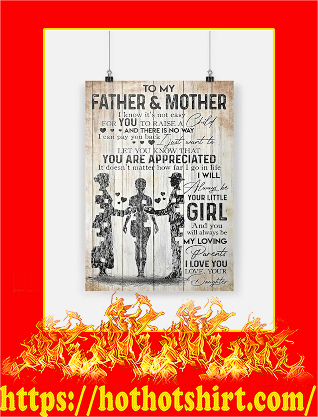 To My Father And Mother Daughter Poster - A3