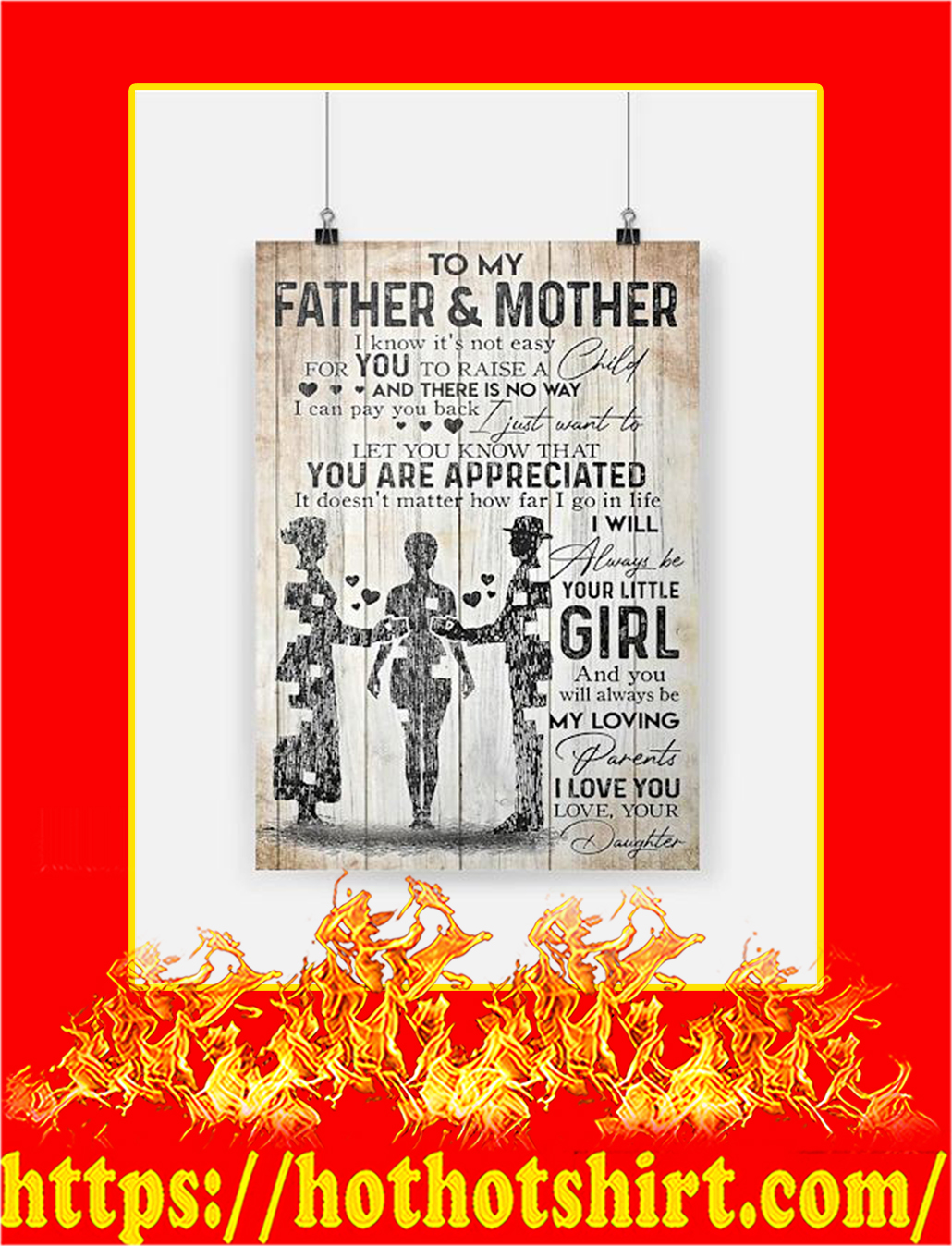 To My Father And Mother Daughter Poster - A4