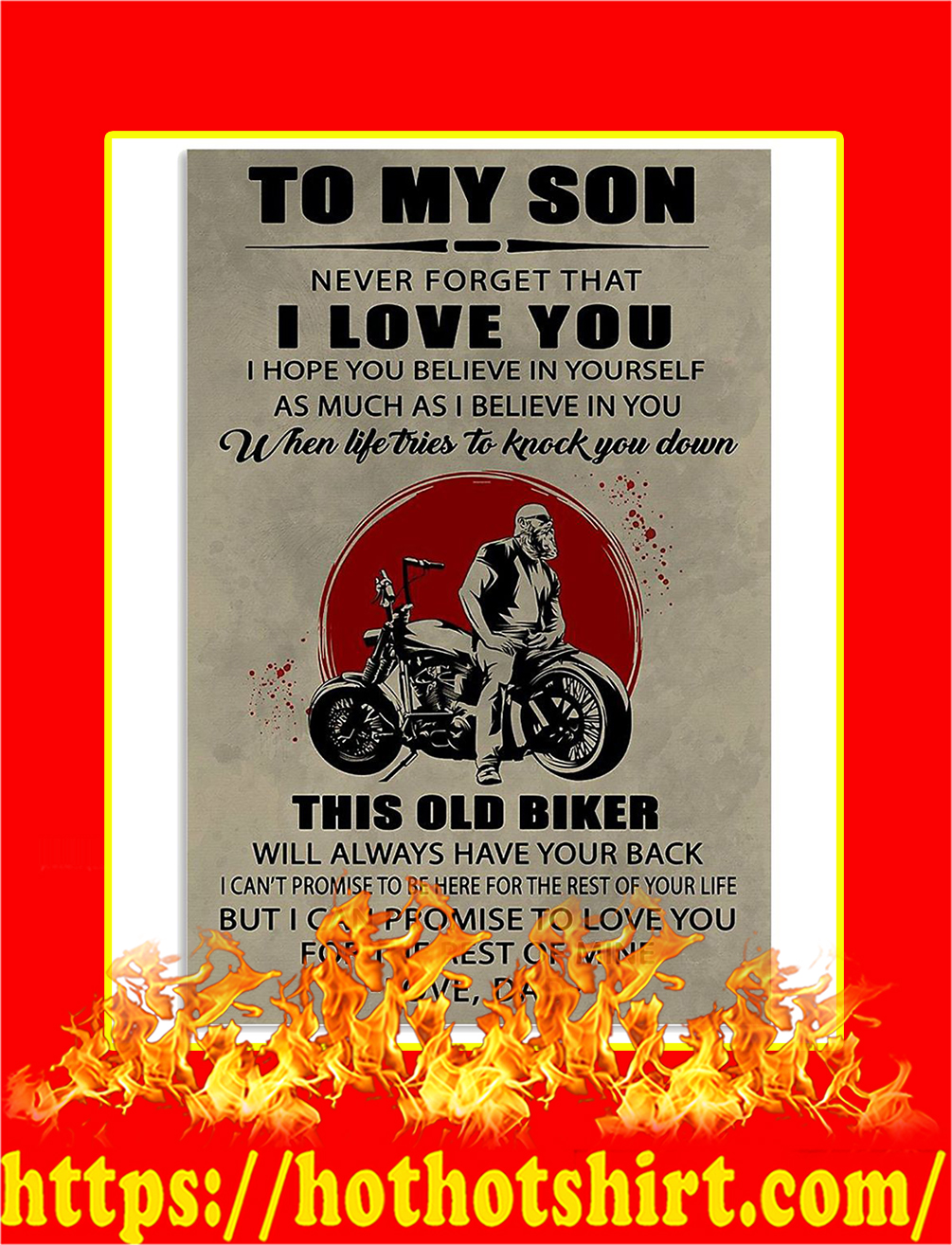 To My Son Old Biker Dad Poster