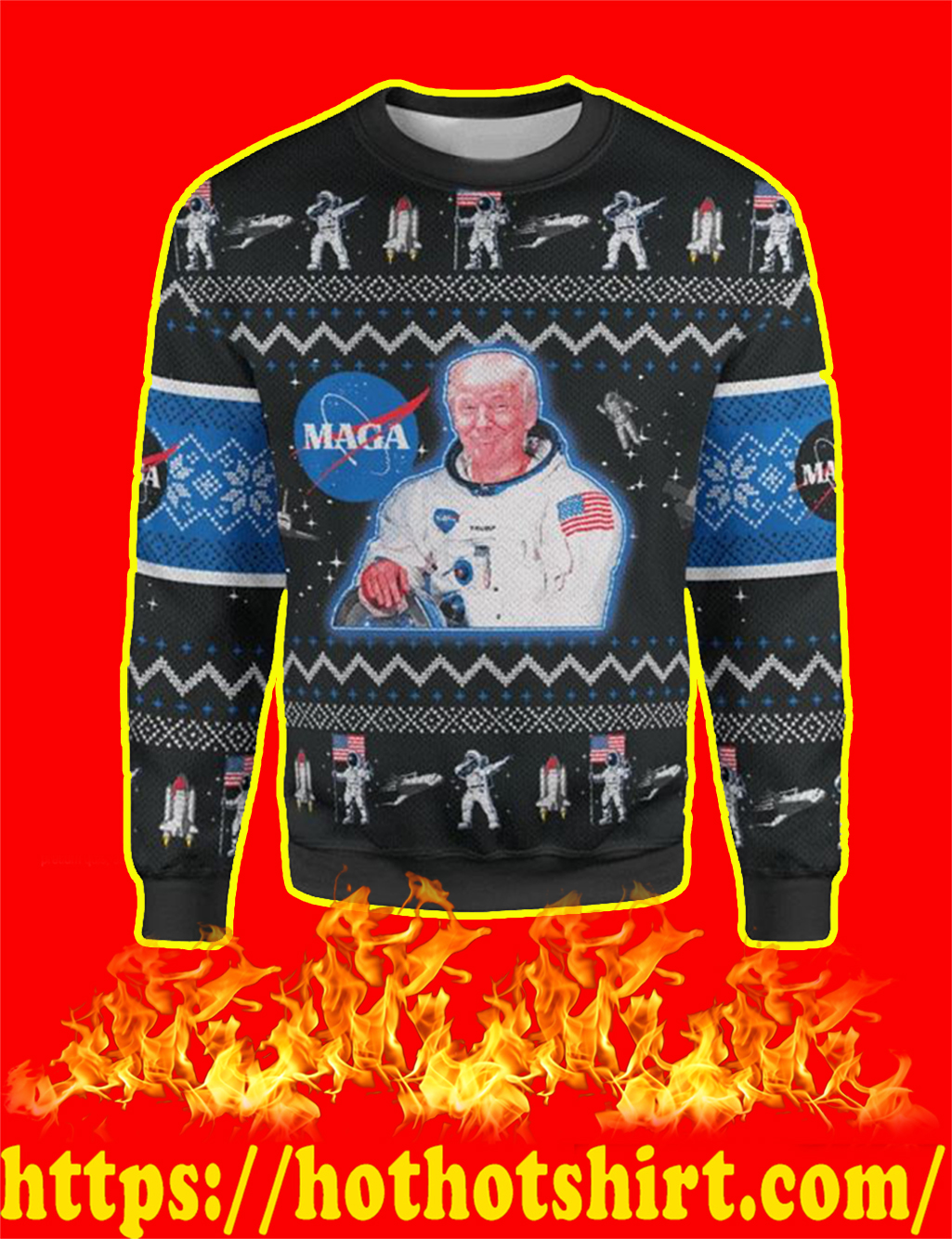 Trump Maga Space Force Christmas Sweater - front