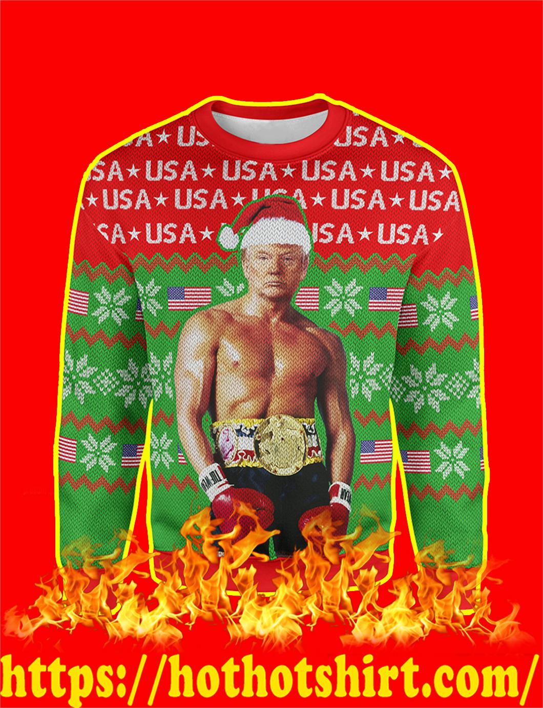 Trump Rocky Christmas Sweater - L