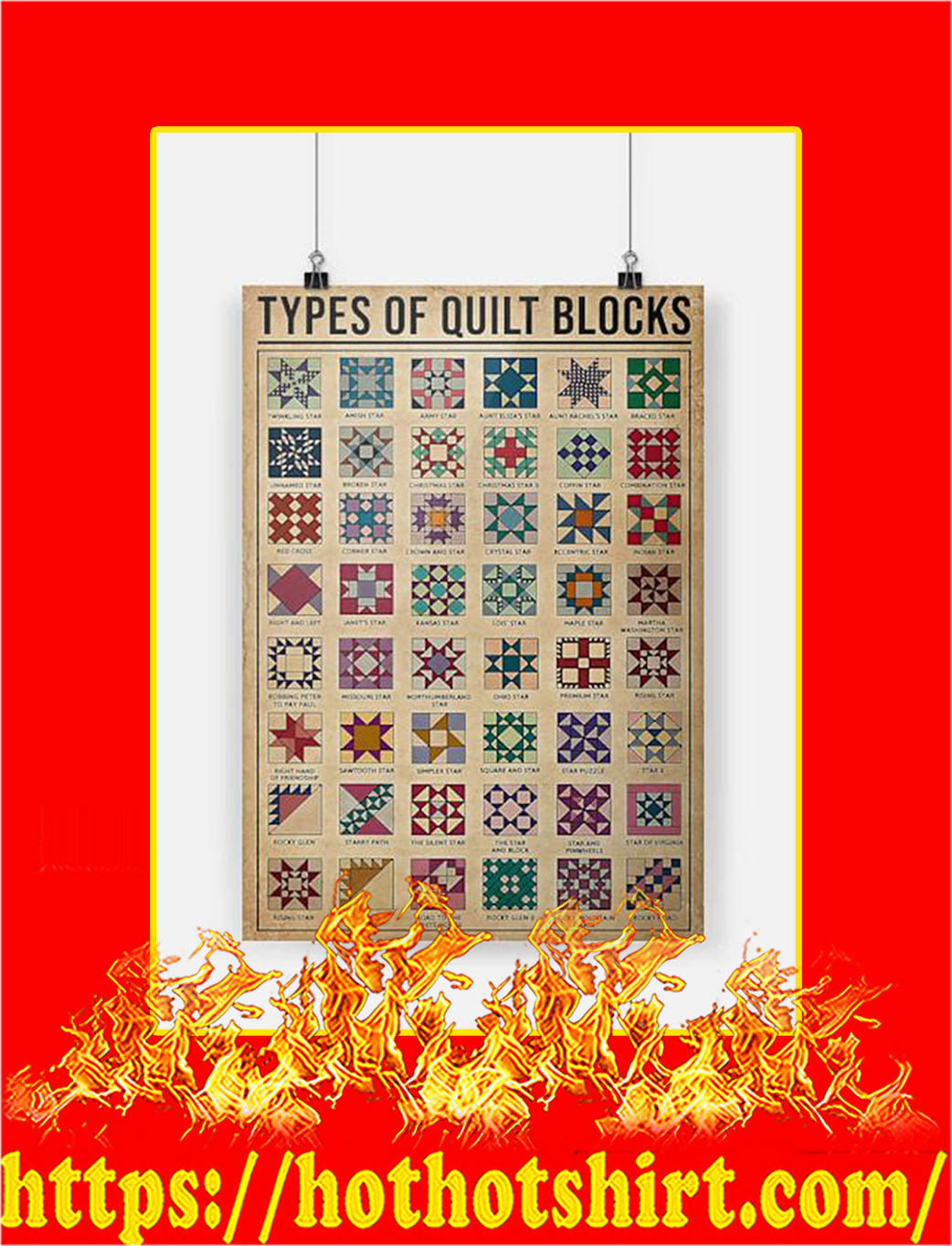 Types Of Quilt Blocks Poster - A2
