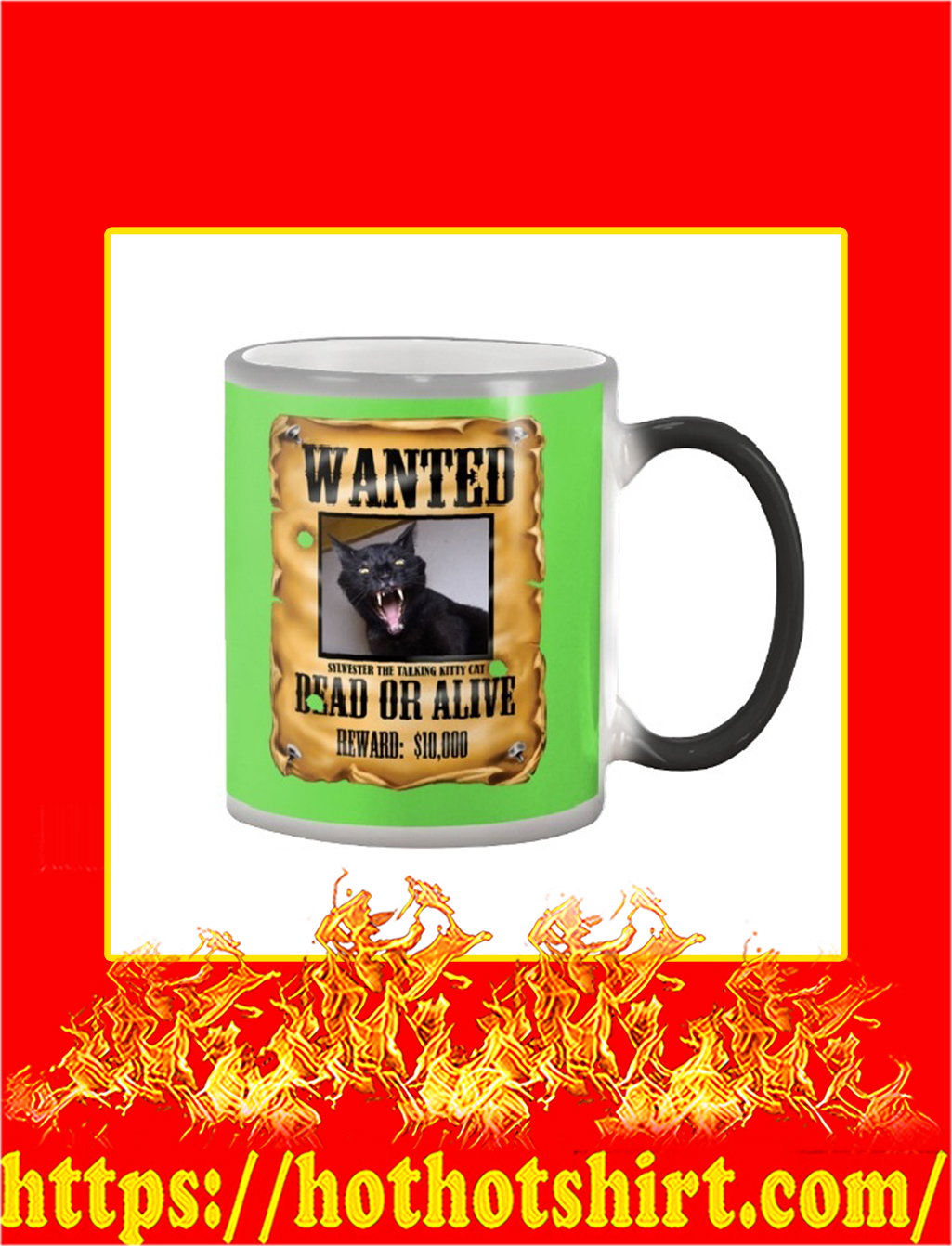 Wanted Sylvester The Talking Kitty Cat Dead Or Alive Mug- kiwi