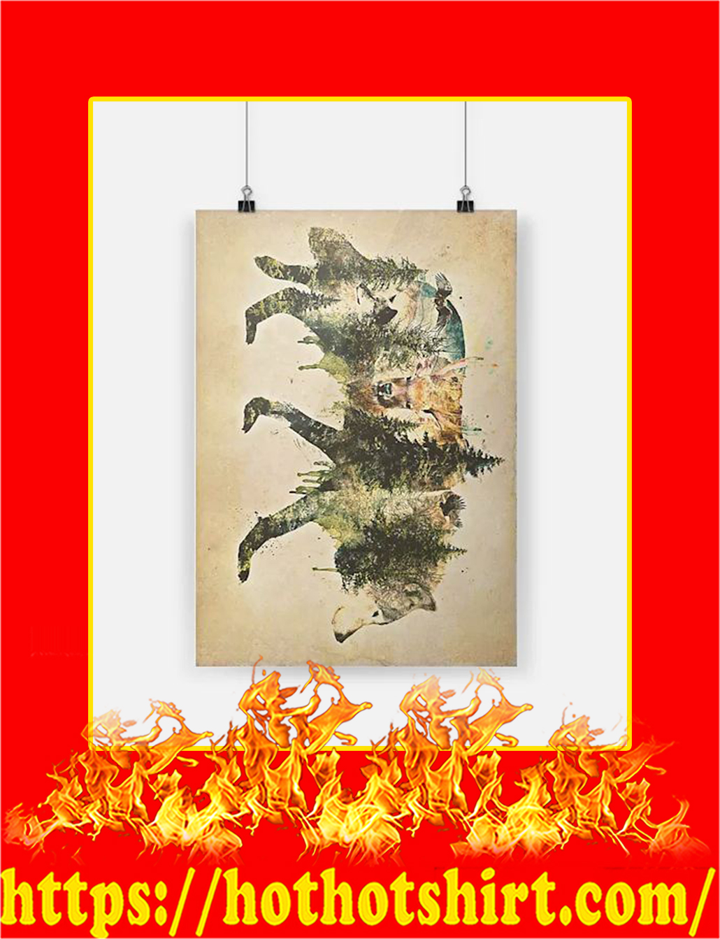 Wolf Pride A Natural Animals Forest Mountains Poster - A4