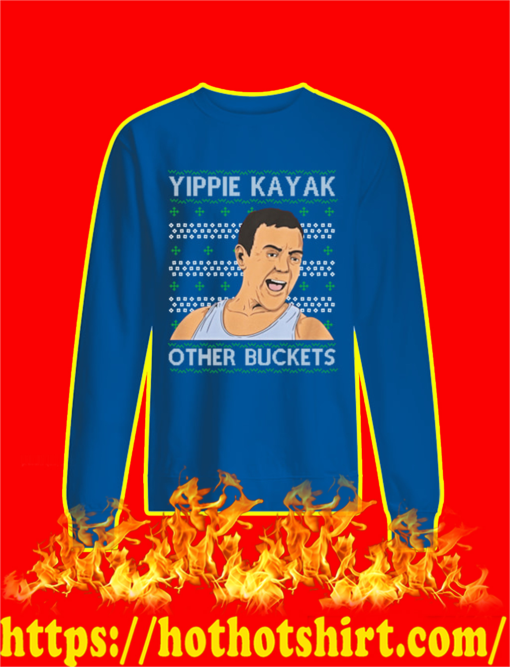 Yippie Kayak Other Buckets Christmas Sweater- blue
