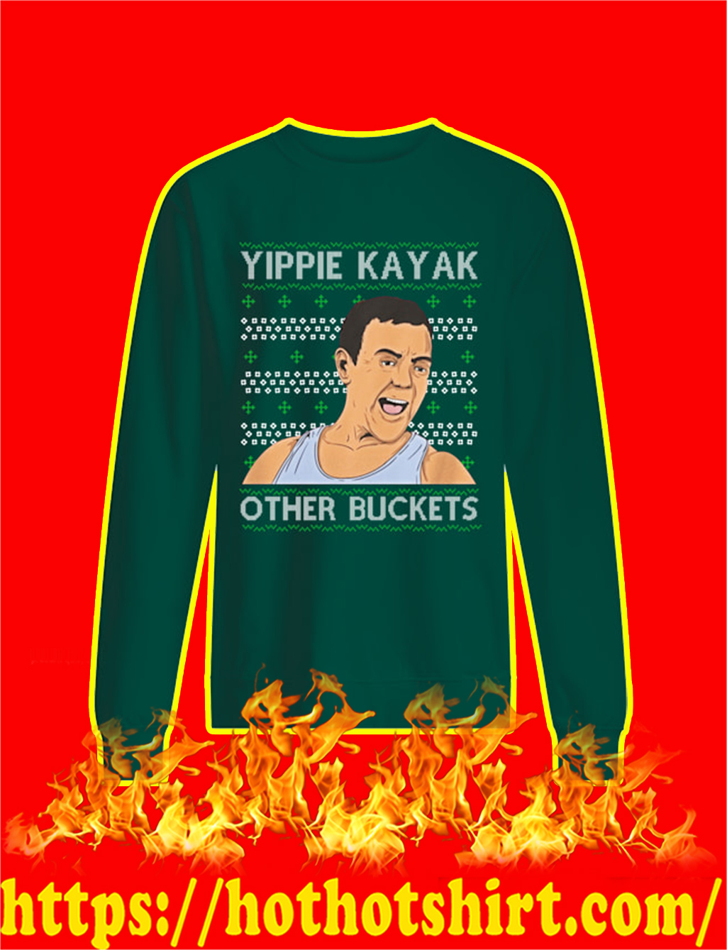 Yippie Kayak Other Buckets Christmas Sweater- green
