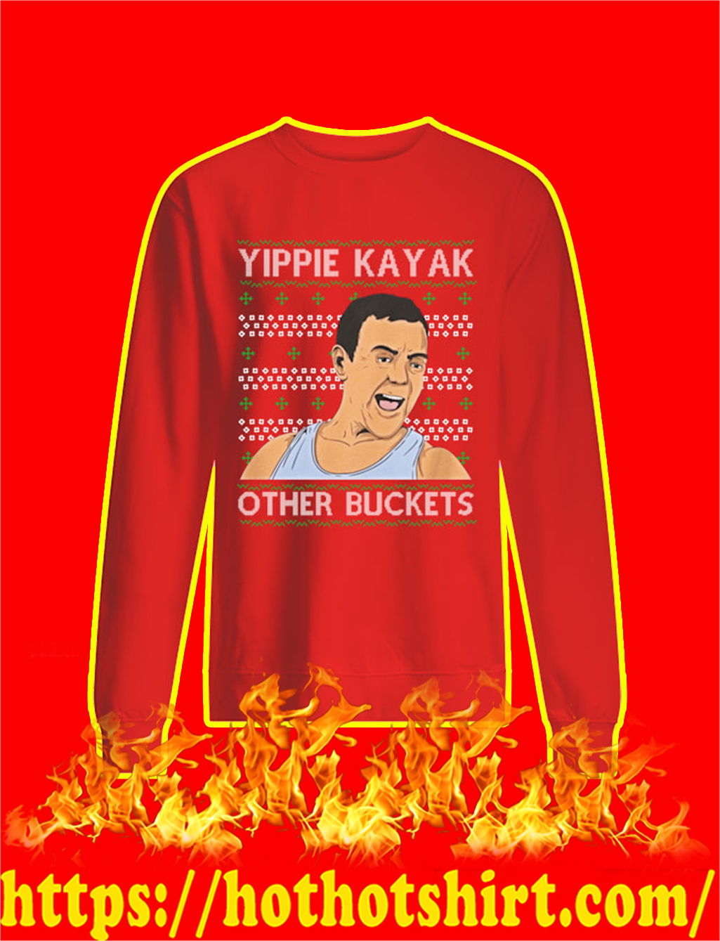 Yippie Kayak Other Buckets Christmas Sweater- red