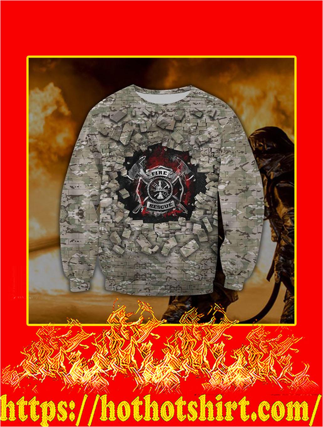 3D Printed Firefighter Camo Wall Clothing Sweatshirt
