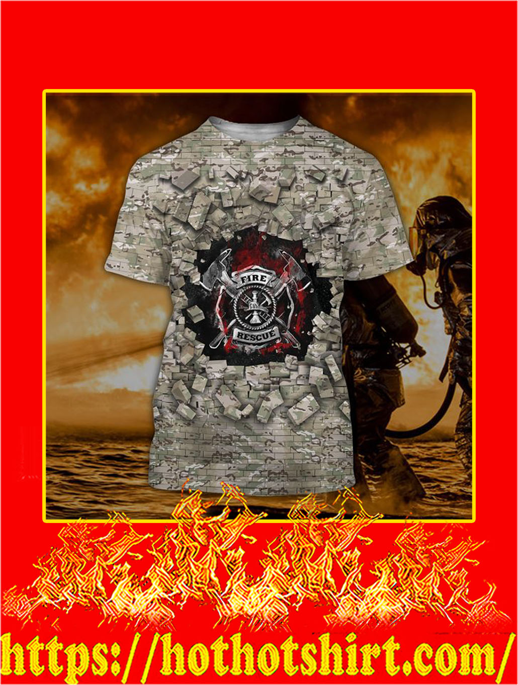 3D Printed Firefighter Camo Wall Clothing T-shirt