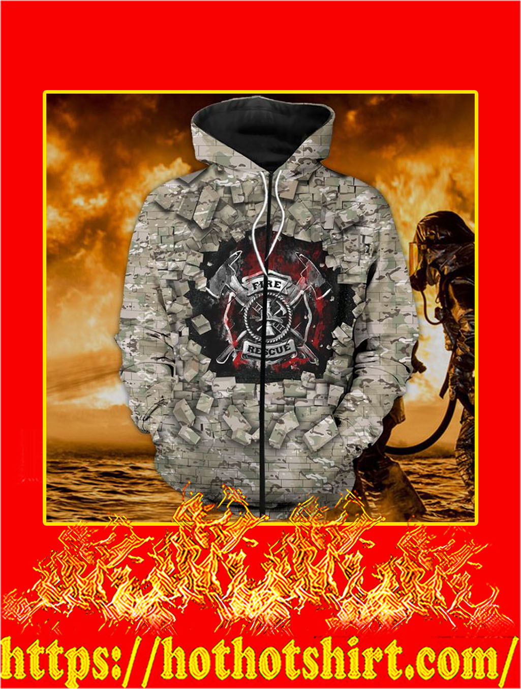 3D Printed Firefighter Camo Wall Clothing Zip Hoodie