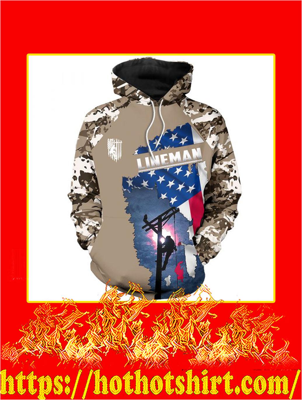 3D Printed Lineman Clothing American Flag Camo Hoodie