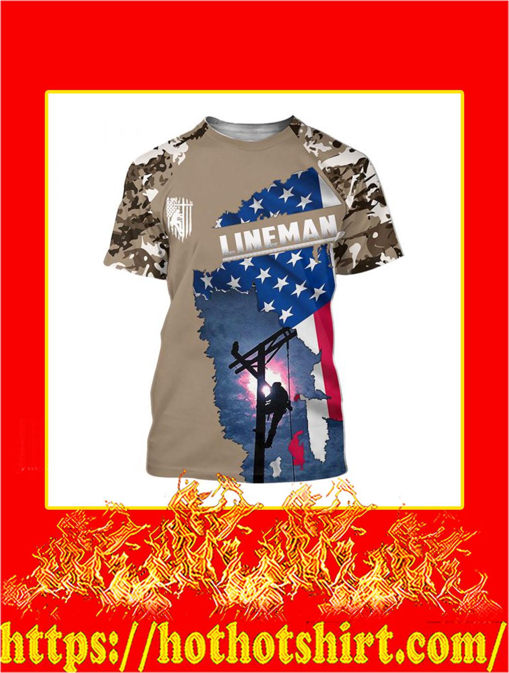 3D Printed Lineman Clothing American Flag Camo T-shirt