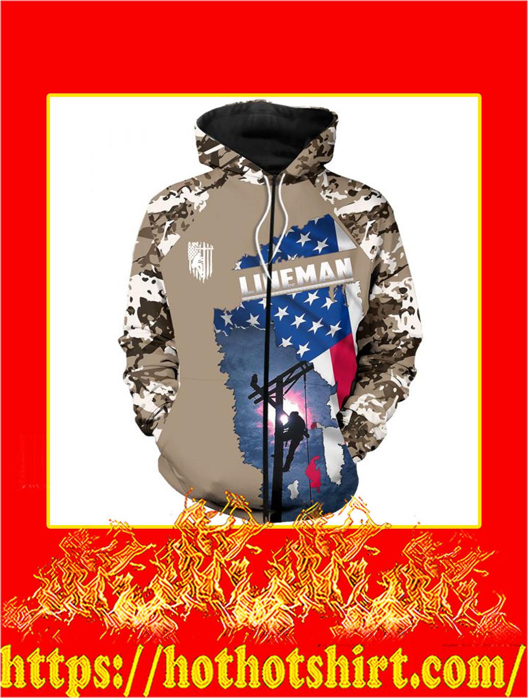 3D Printed Lineman Clothing American Flag Camo Zip Hoodie