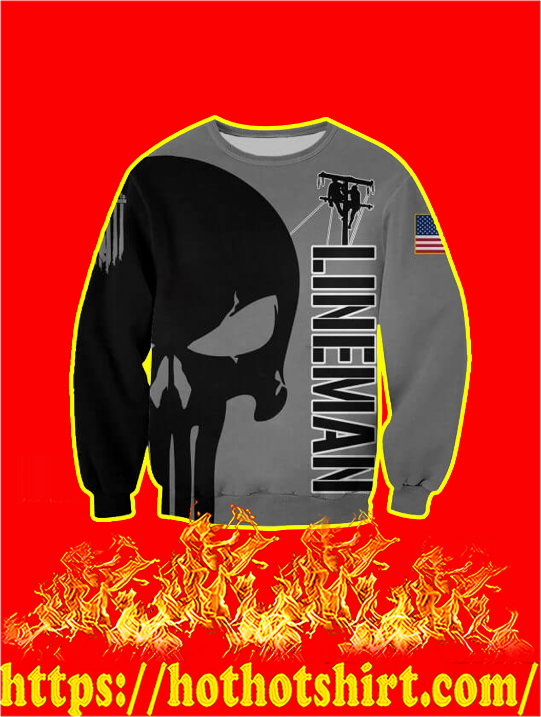3D Printed Lineman Punisher Skull Sweatshirt