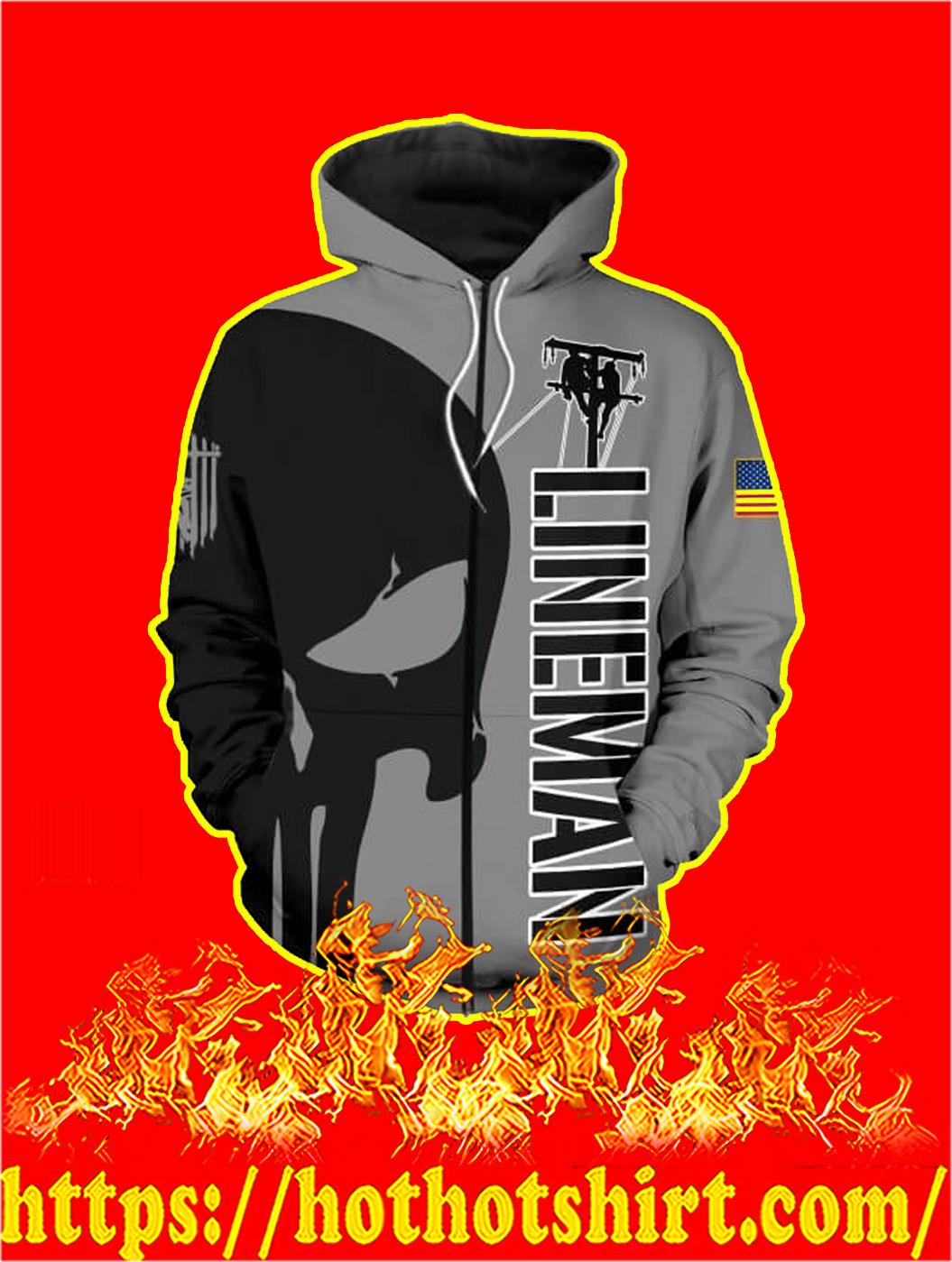 3D Printed Lineman Punisher Skull Zip hoodie