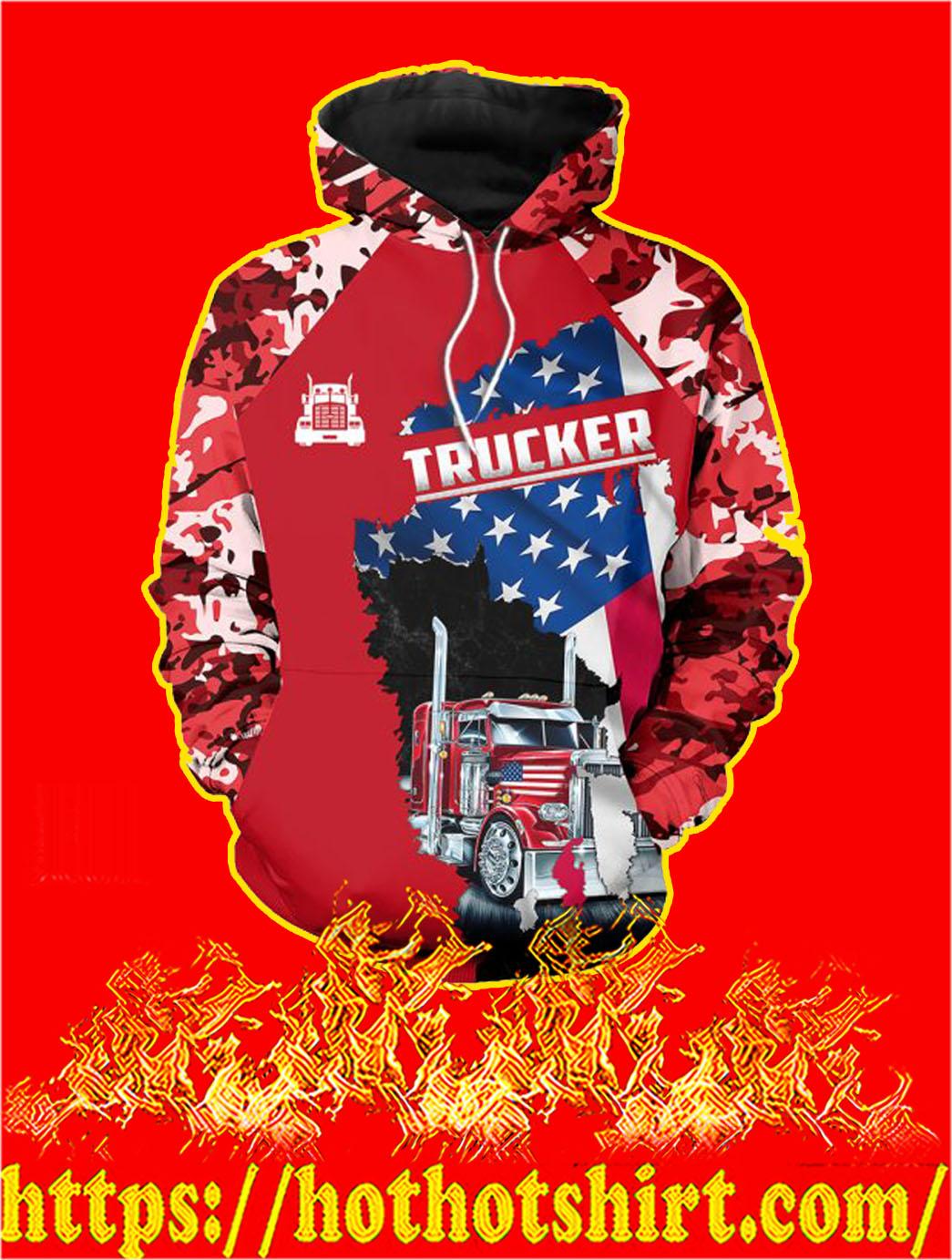 3D Printed Trucker Clothing American Flag Camo Hoodie