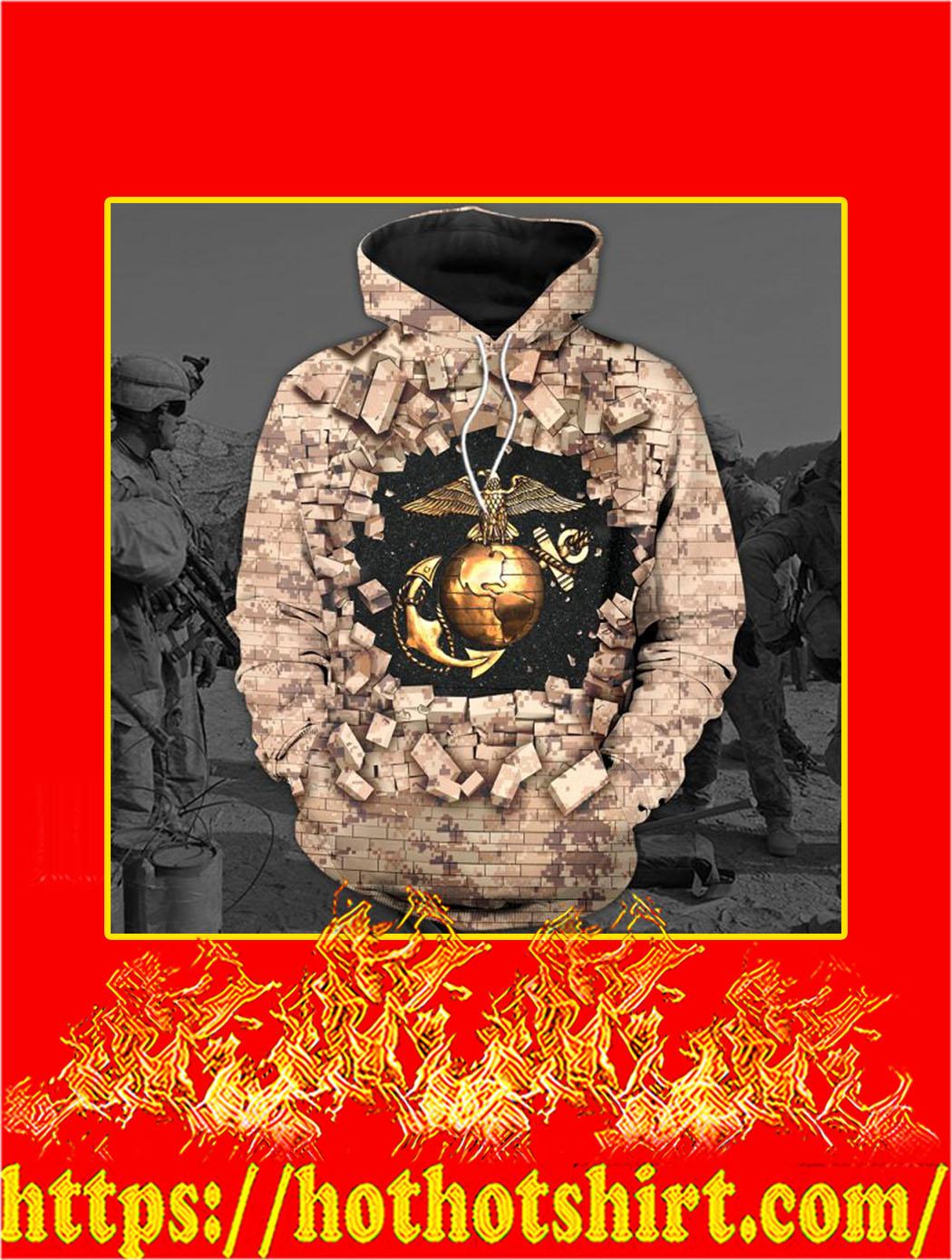 3D Printed U.S Marine Clothing Camo Wall Hoodie