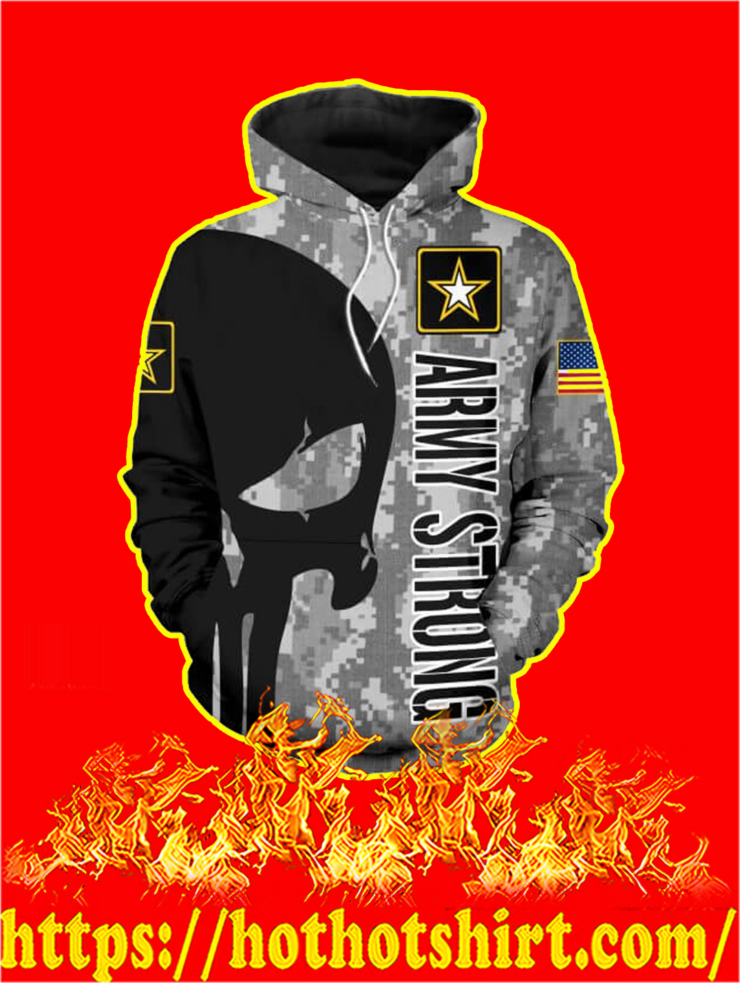 3D Printed US Army Strong Punisher Skull Hoodie