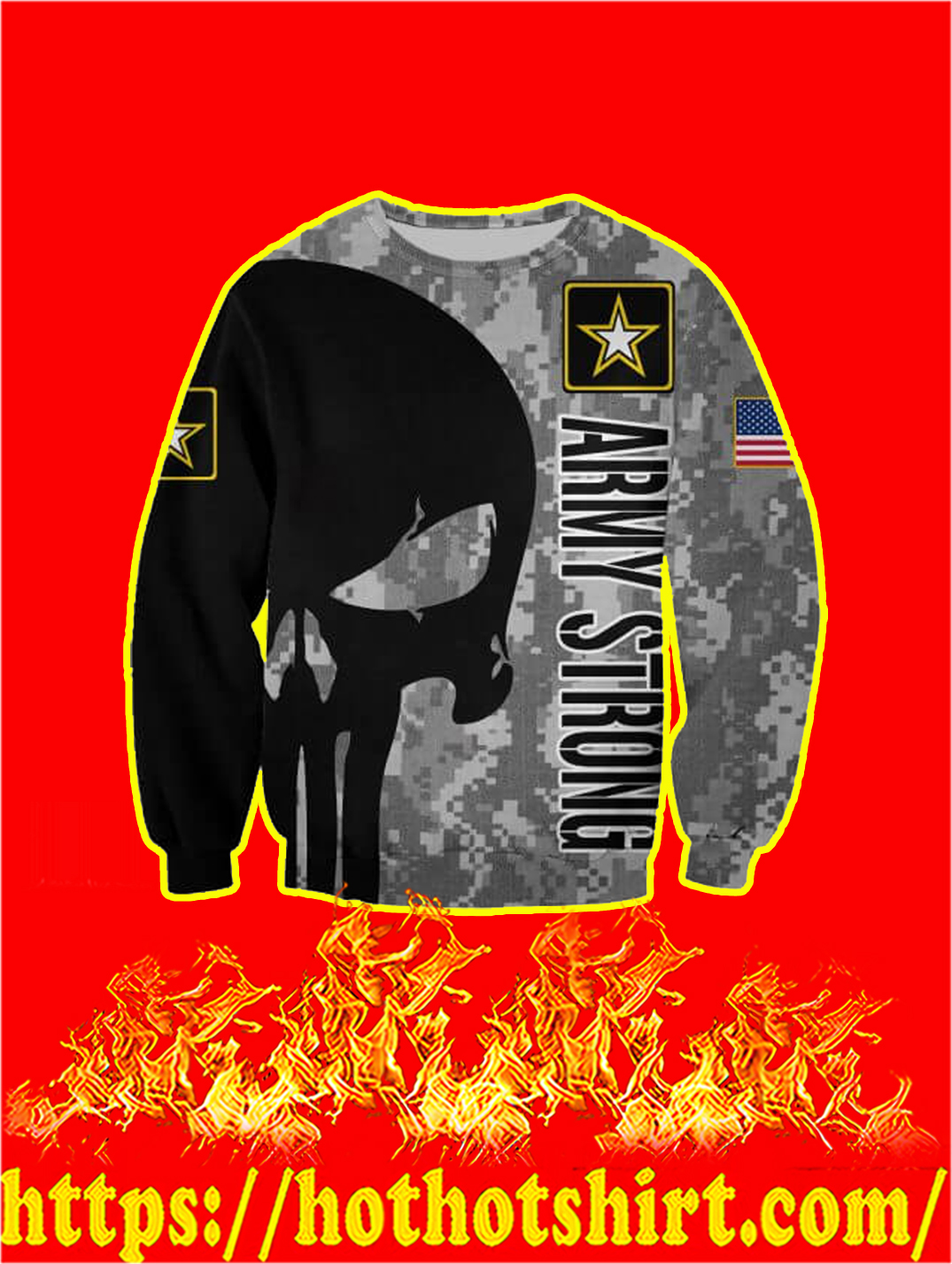 3D Printed US Army Strong Punisher Skull Sweatshirt