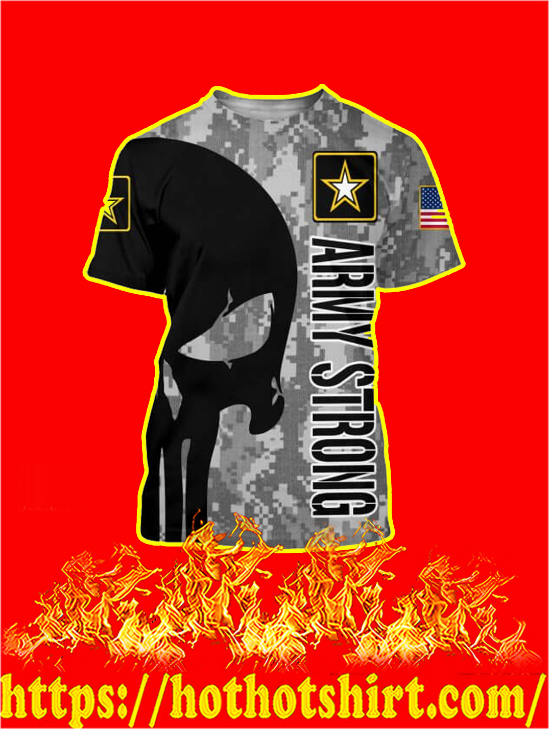 3D Printed US Army Strong Punisher Skull T-shirt
