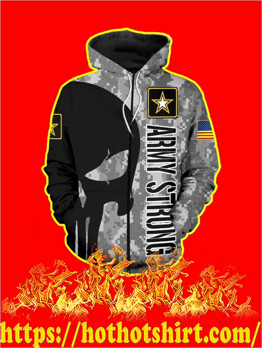 3D Printed US Army Strong Punisher Skull Zip hoodie