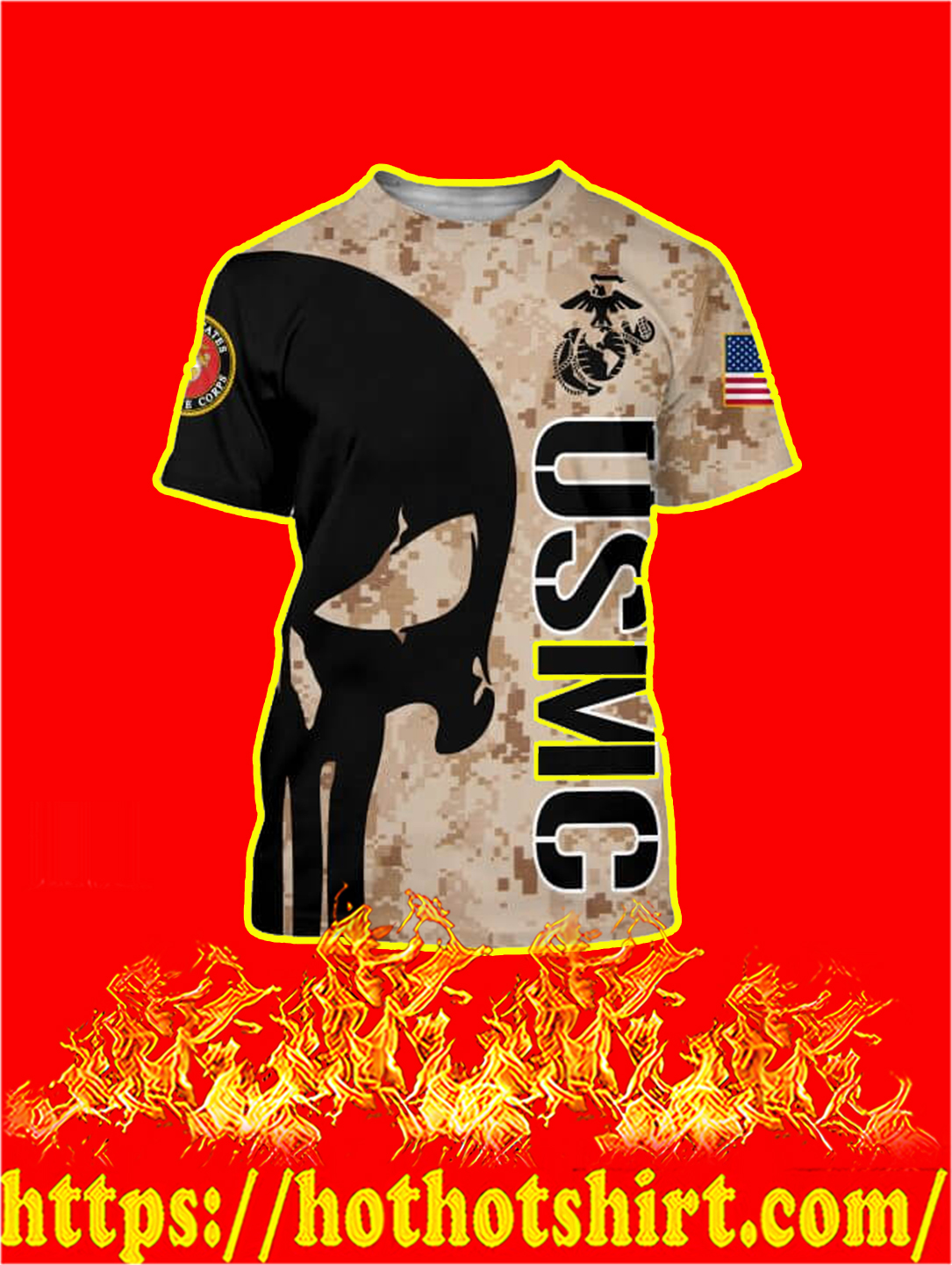 3D Printed USMC Punisher Skull T-shirt