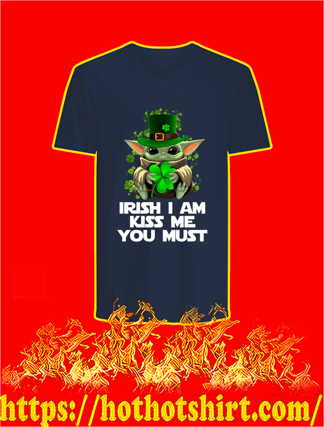 Baby Yoda Irish I Am Kiss Me You Must v-neck