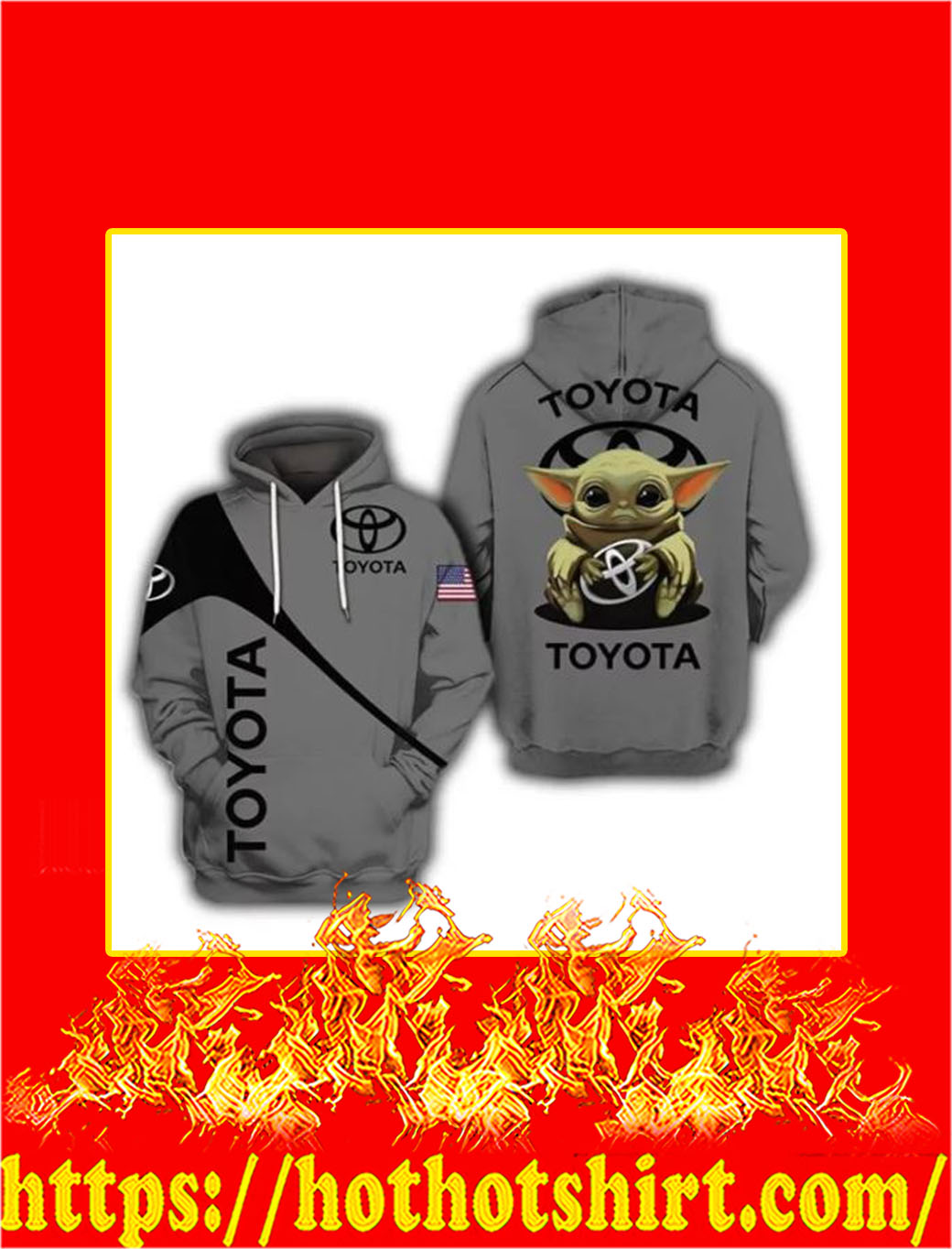 Baby Yoda Toyota 3D Hoodie