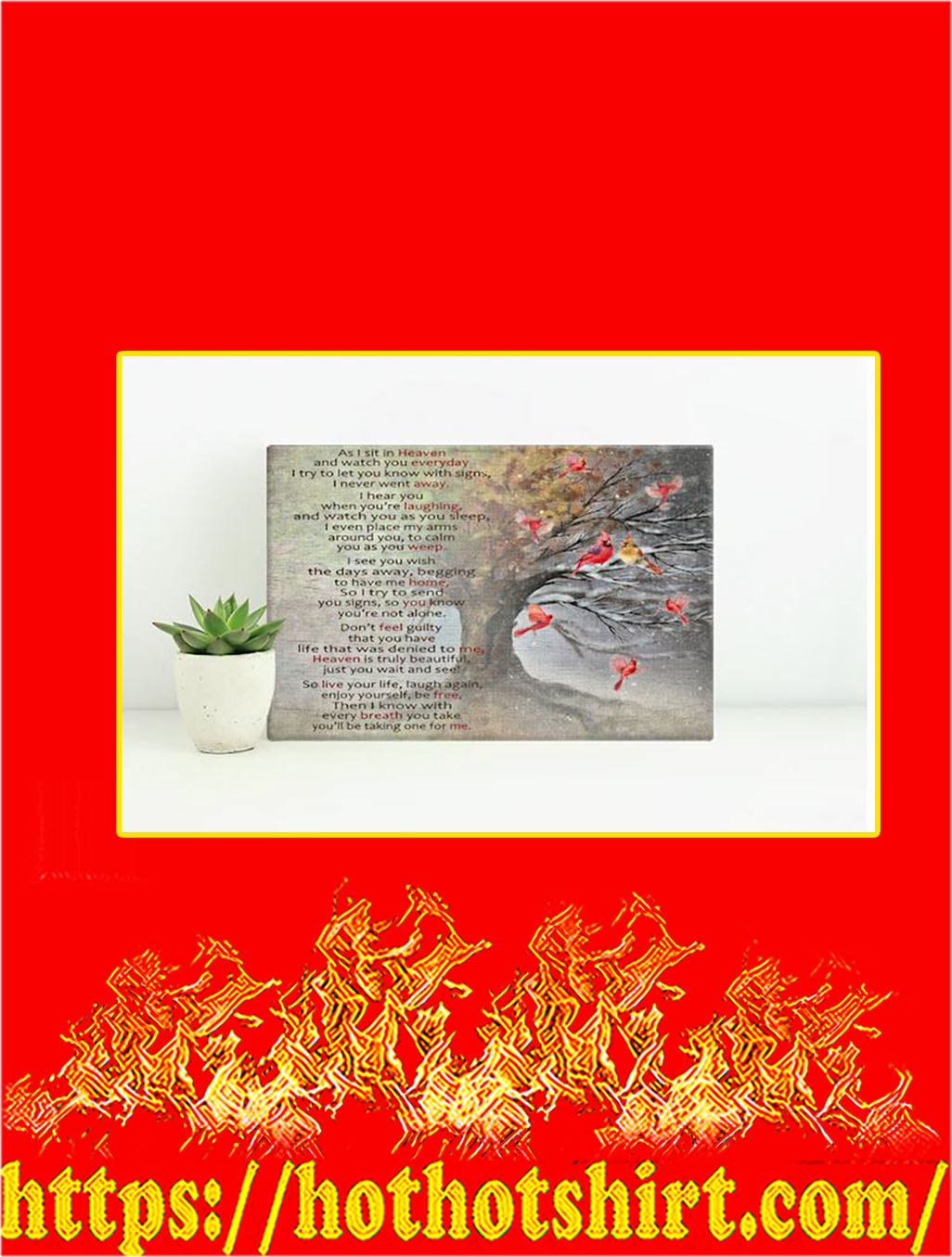 Cardinal As I Sit In Heaven Canvas Prints - Small