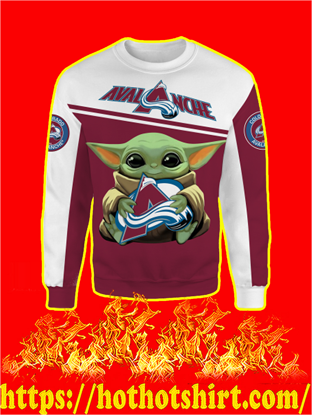 Colorado Avalanche Baby Yoda All Over Print Sweatshirt