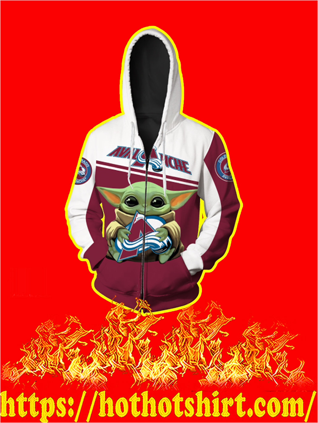 Colorado Avalanche Baby Yoda All Over Print Zip Hoodie