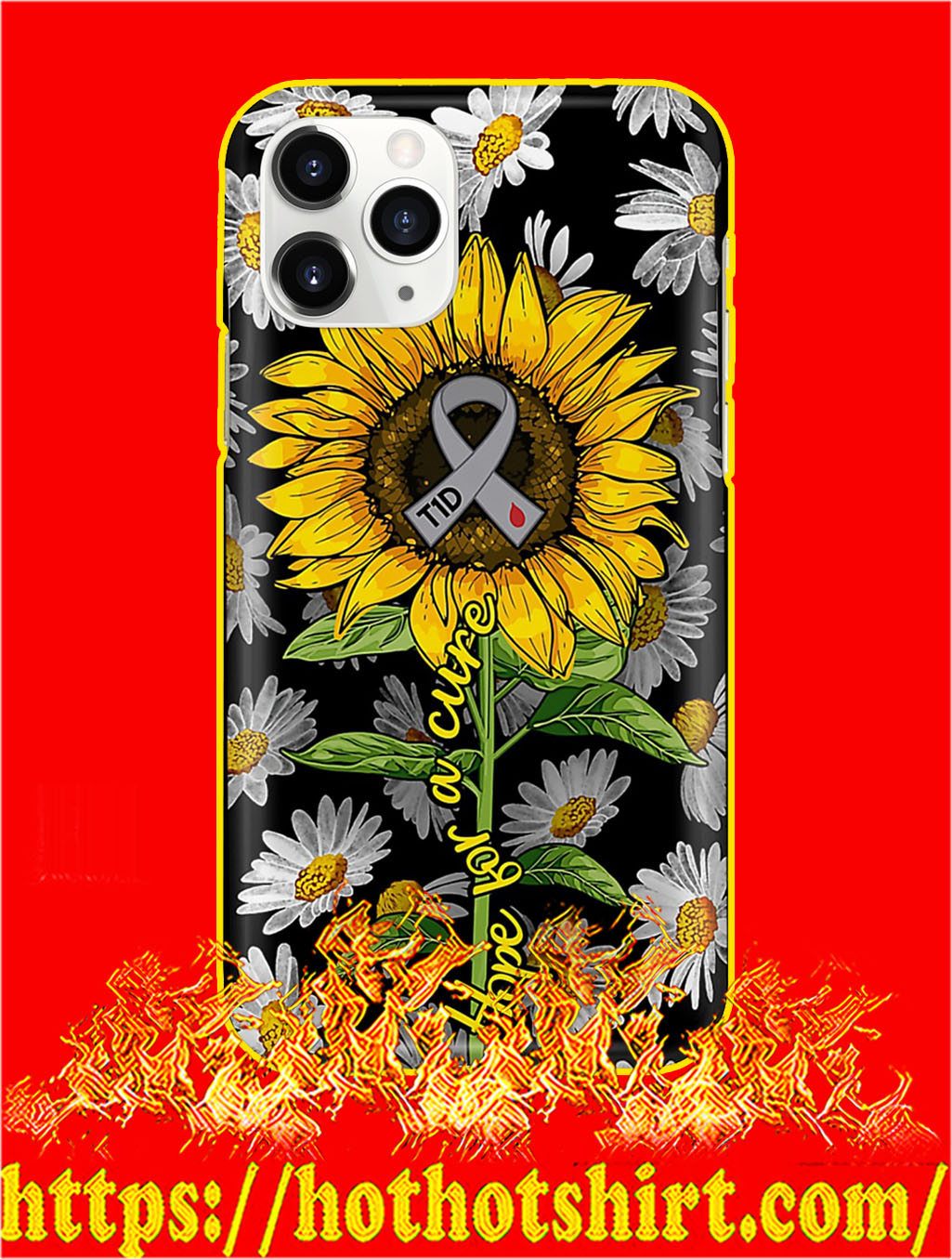 Diabetes Hope For A Cure Sunflower Phone Case- iphone 11 pro