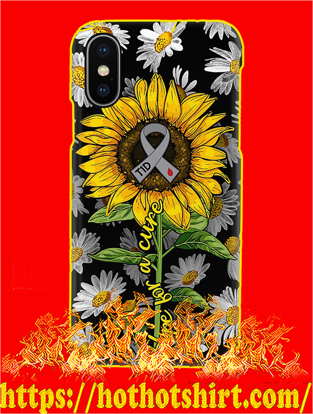 Diabetes Hope For A Cure Sunflower Phone Case- iphone XS
