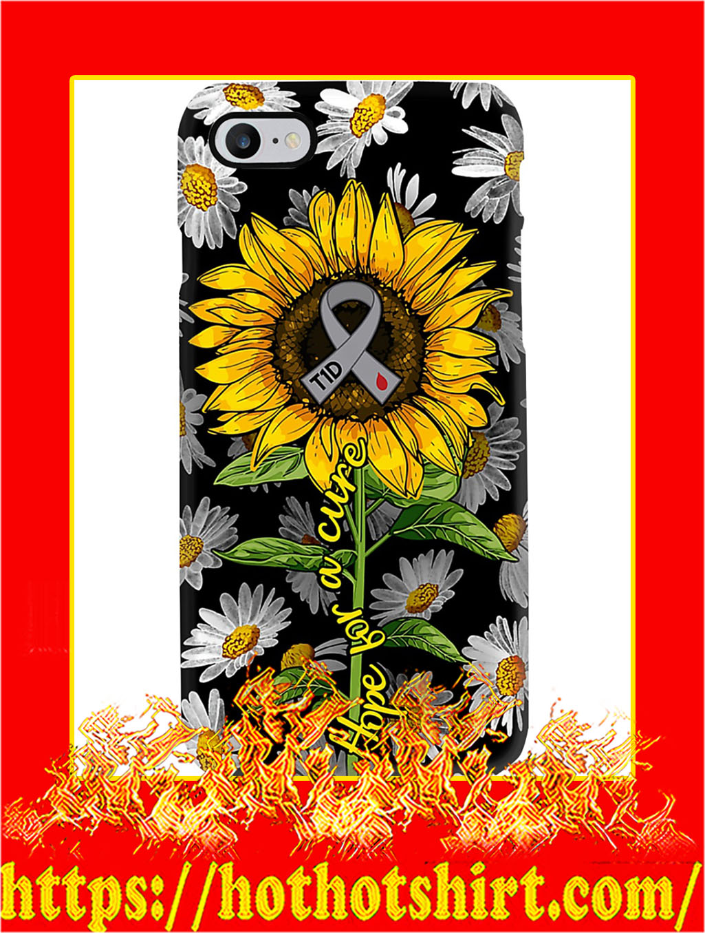 Diabetes Hope For A Cure Sunflower Phone Case