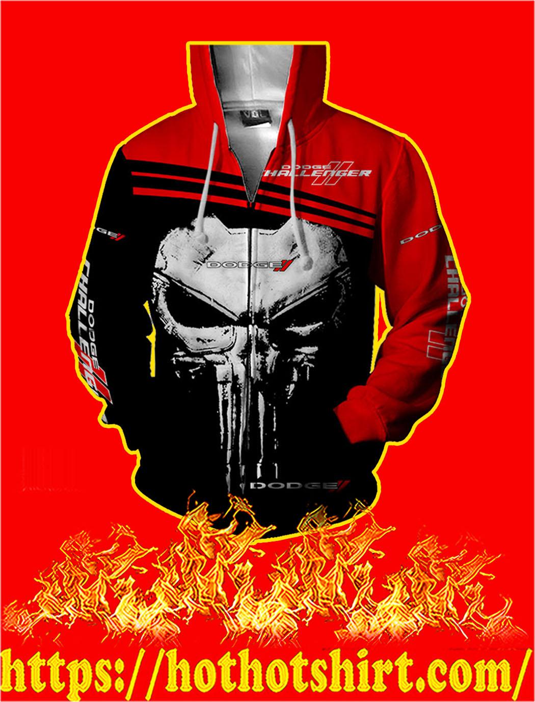 Dodge Challenger Punisher Skull 3D Zip Hoodie