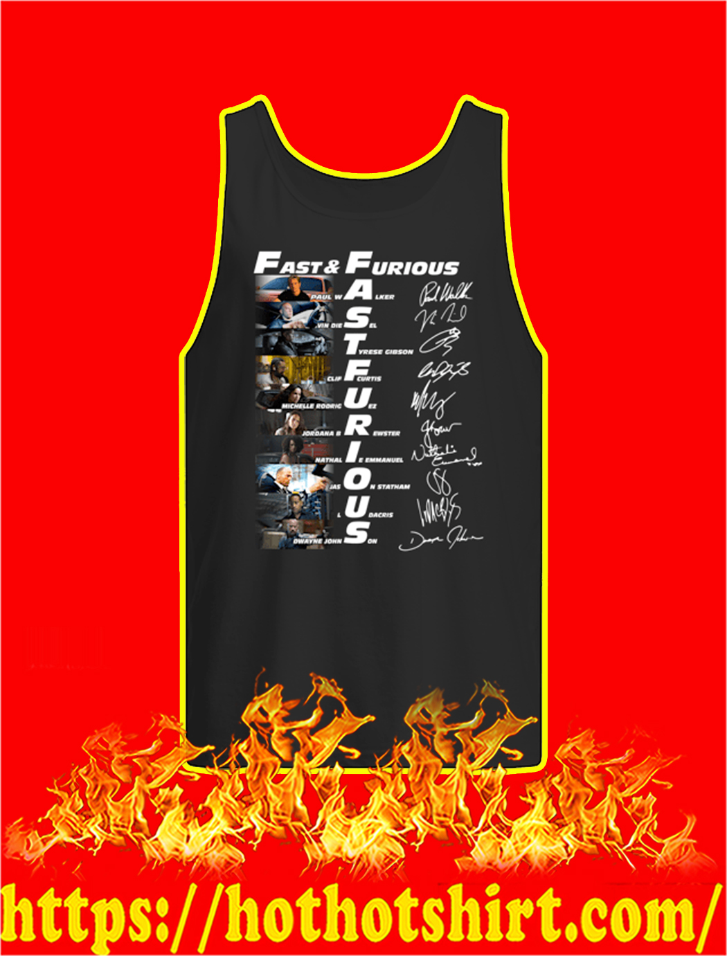 Fast And Furious Actor Signatures tank top