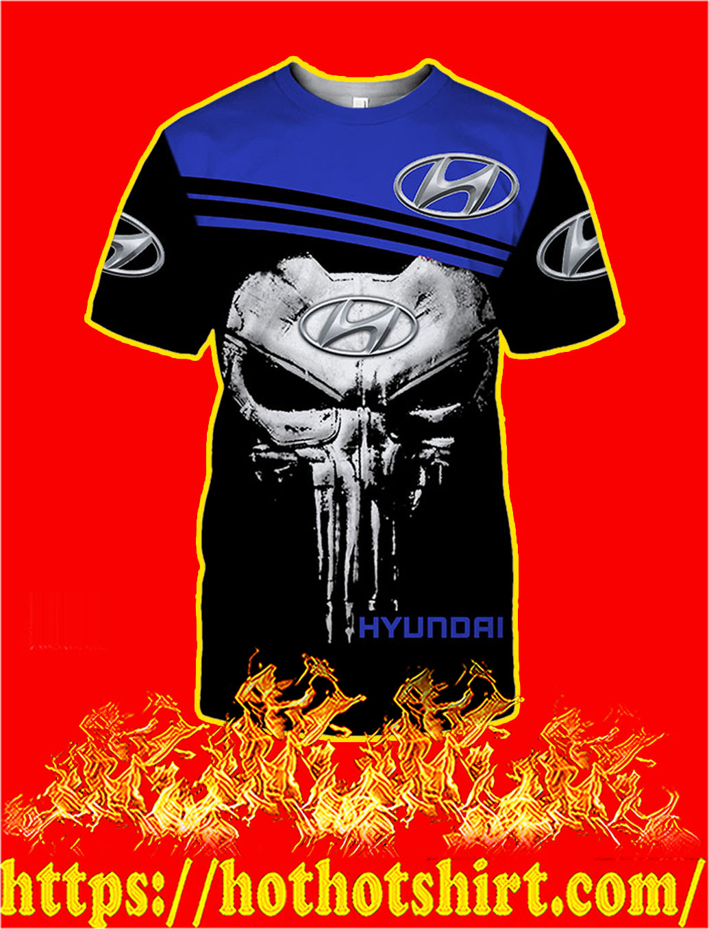 Hyundai Punisher Skull 3D T- shirt