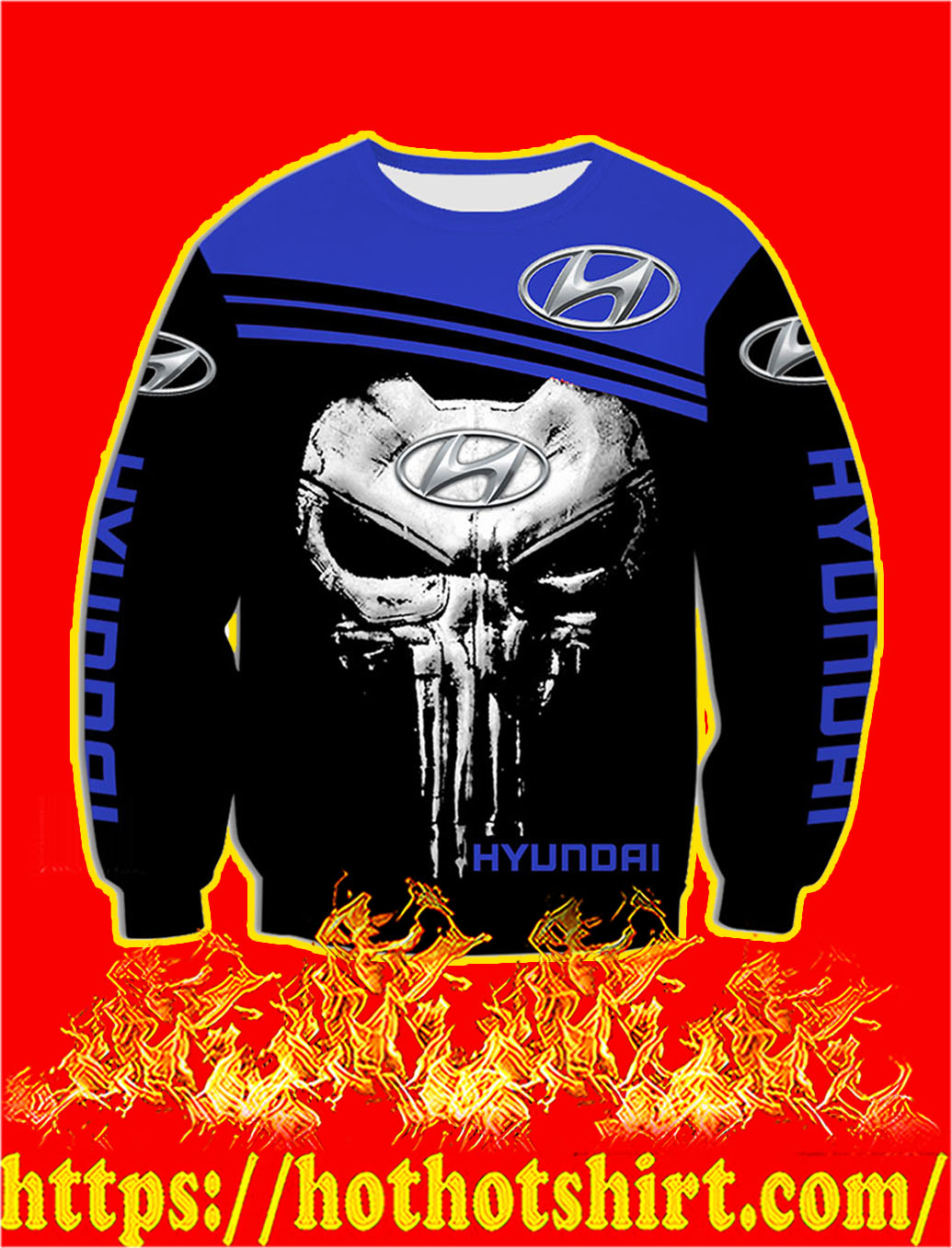 Hyundai Punisher Skull 3D sweatshirt