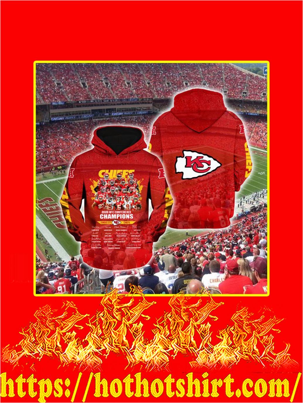Kansas City Chiefs 2020 AFC Conference Champions 3D Hoodie