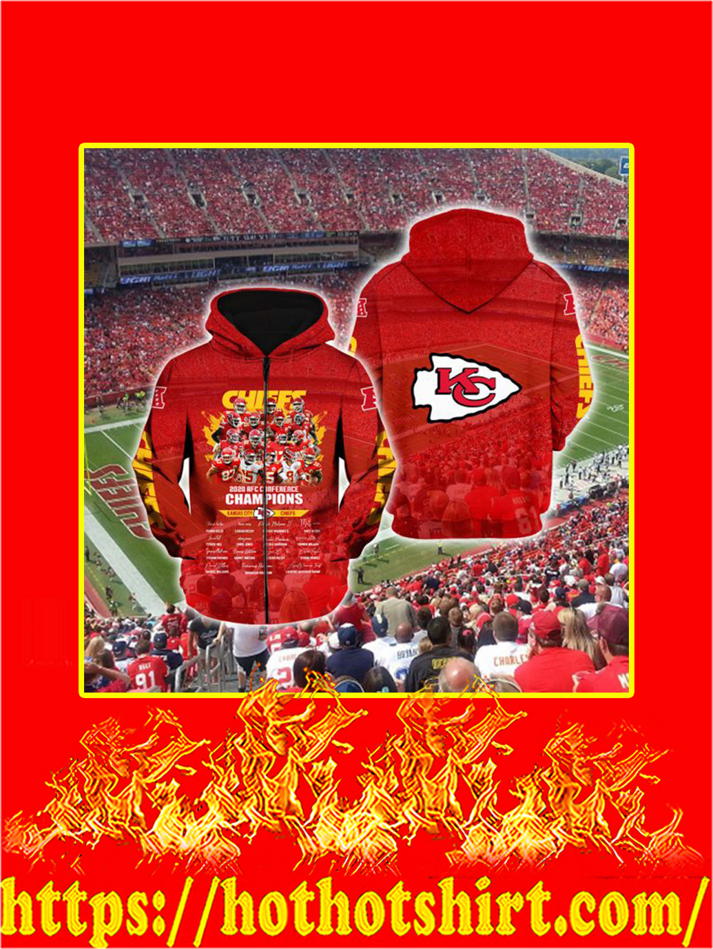 Kansas City Chiefs 2020 AFC Conference Champions 3D Zip Hoodie