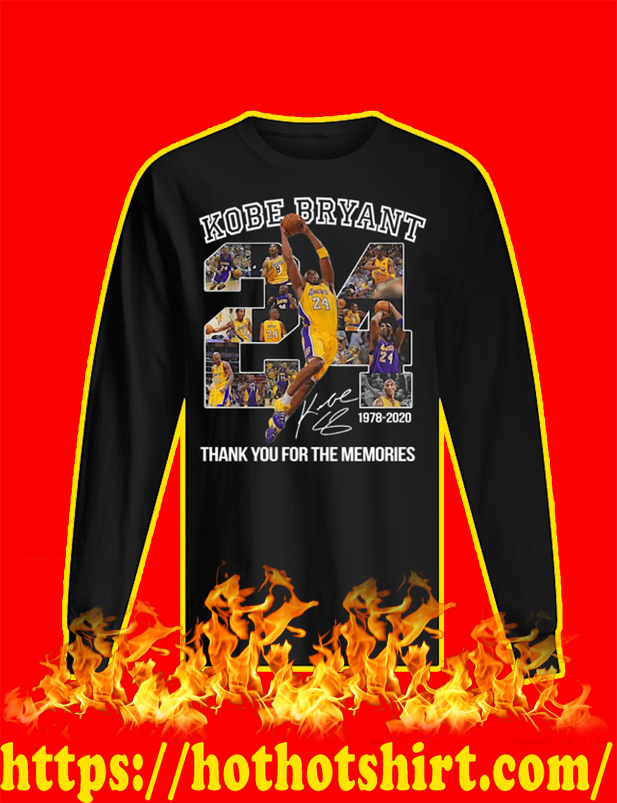 Kobe Bryant Thank You For The Memories Long sleeved T-shirt