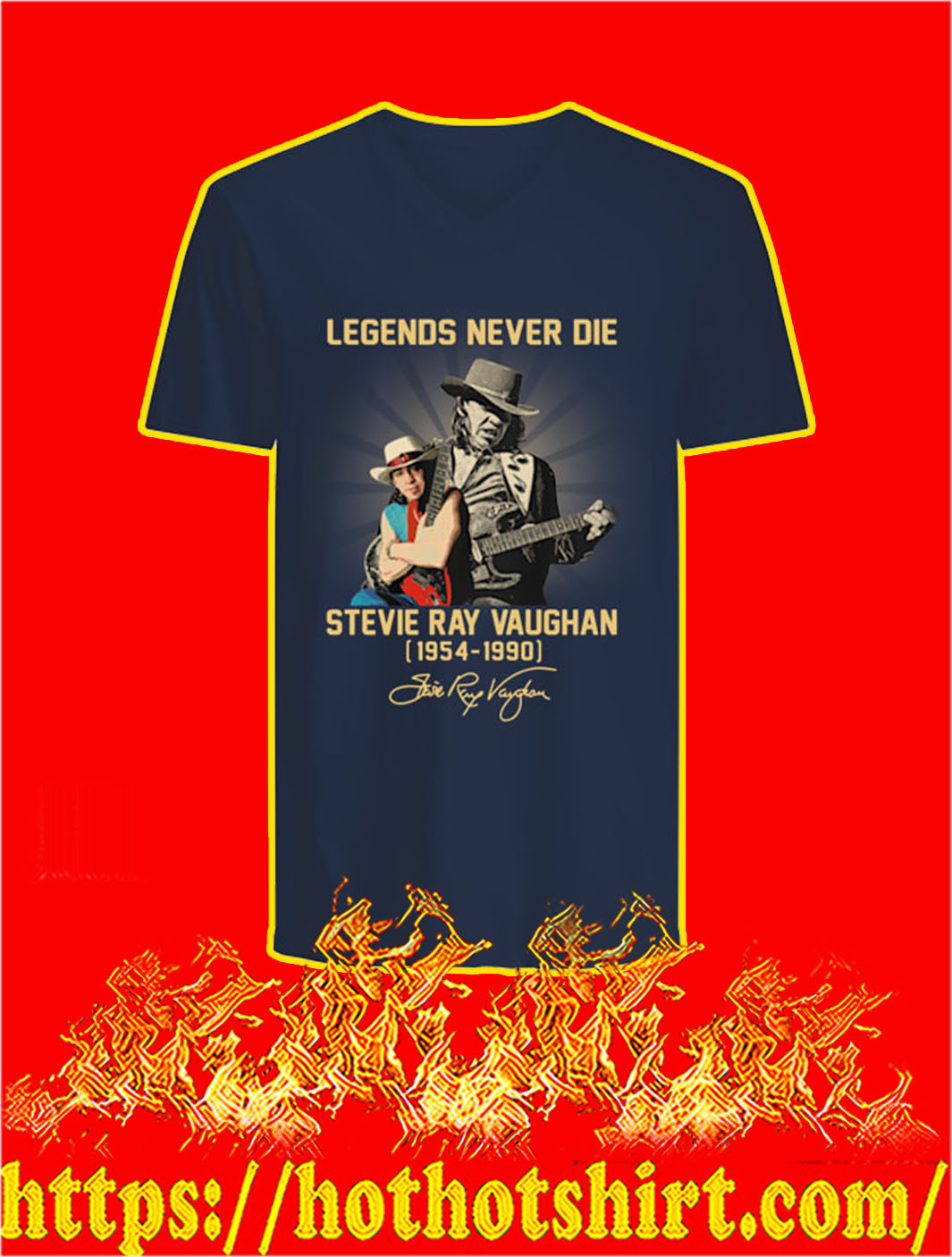 Legends Never Die Stevie Ray Vaughan 1954 1990 v-neck