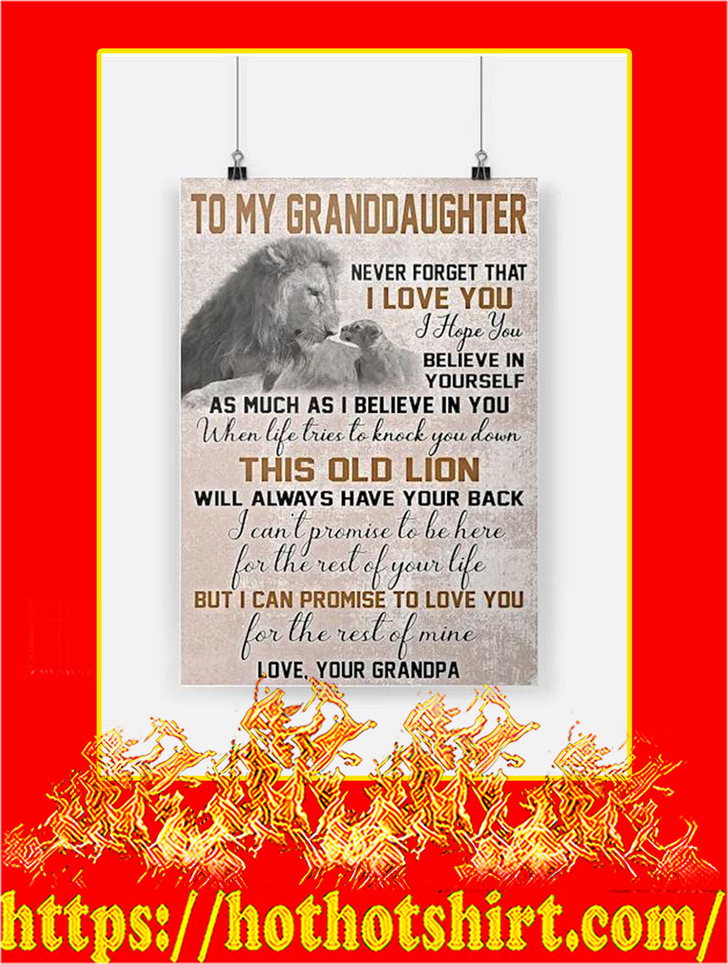 Lion To My Granddaughter Grandpa Poster - A4