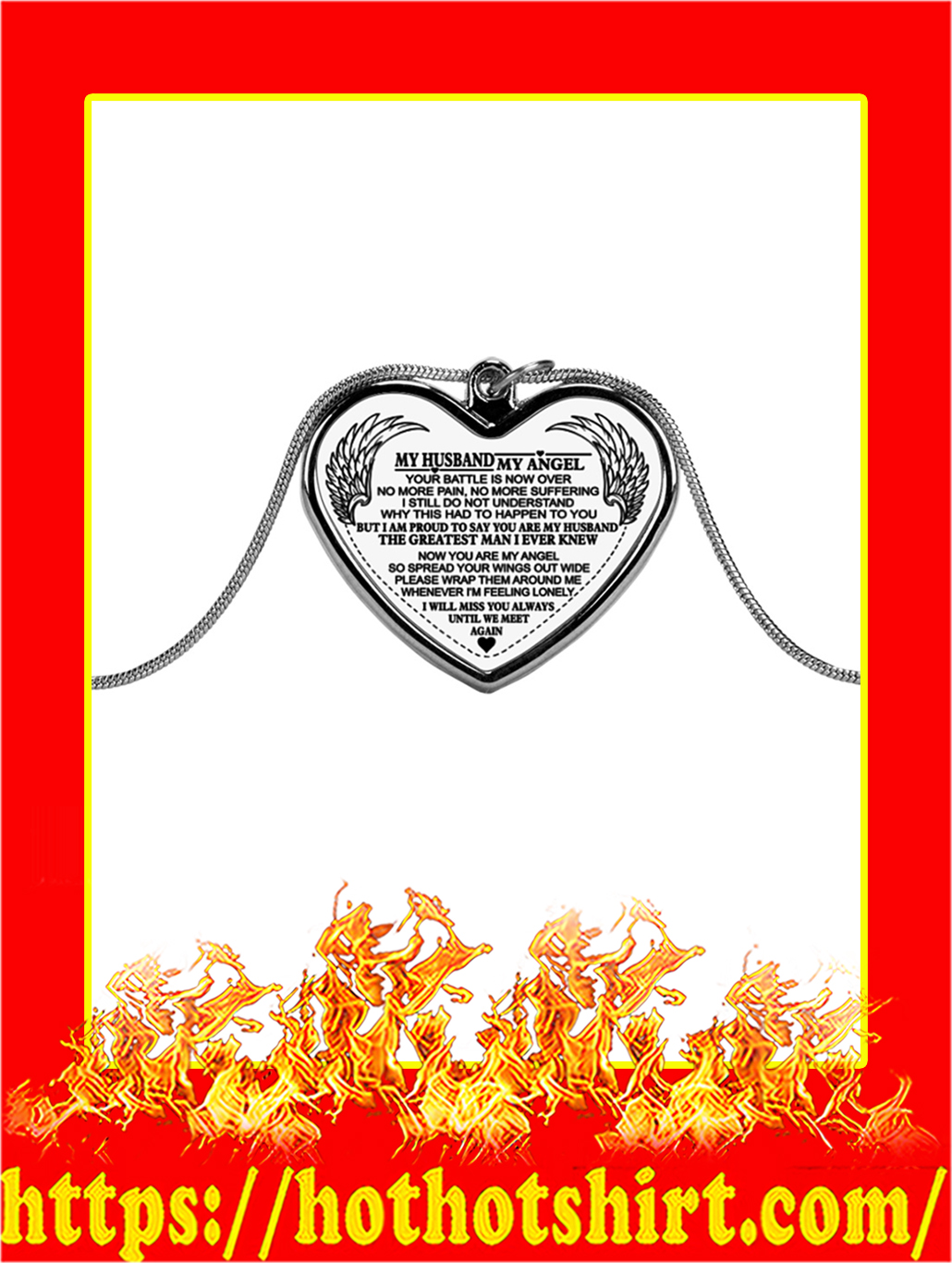 My Husband My Angel Your Battle Is Now Over Necklace- silver