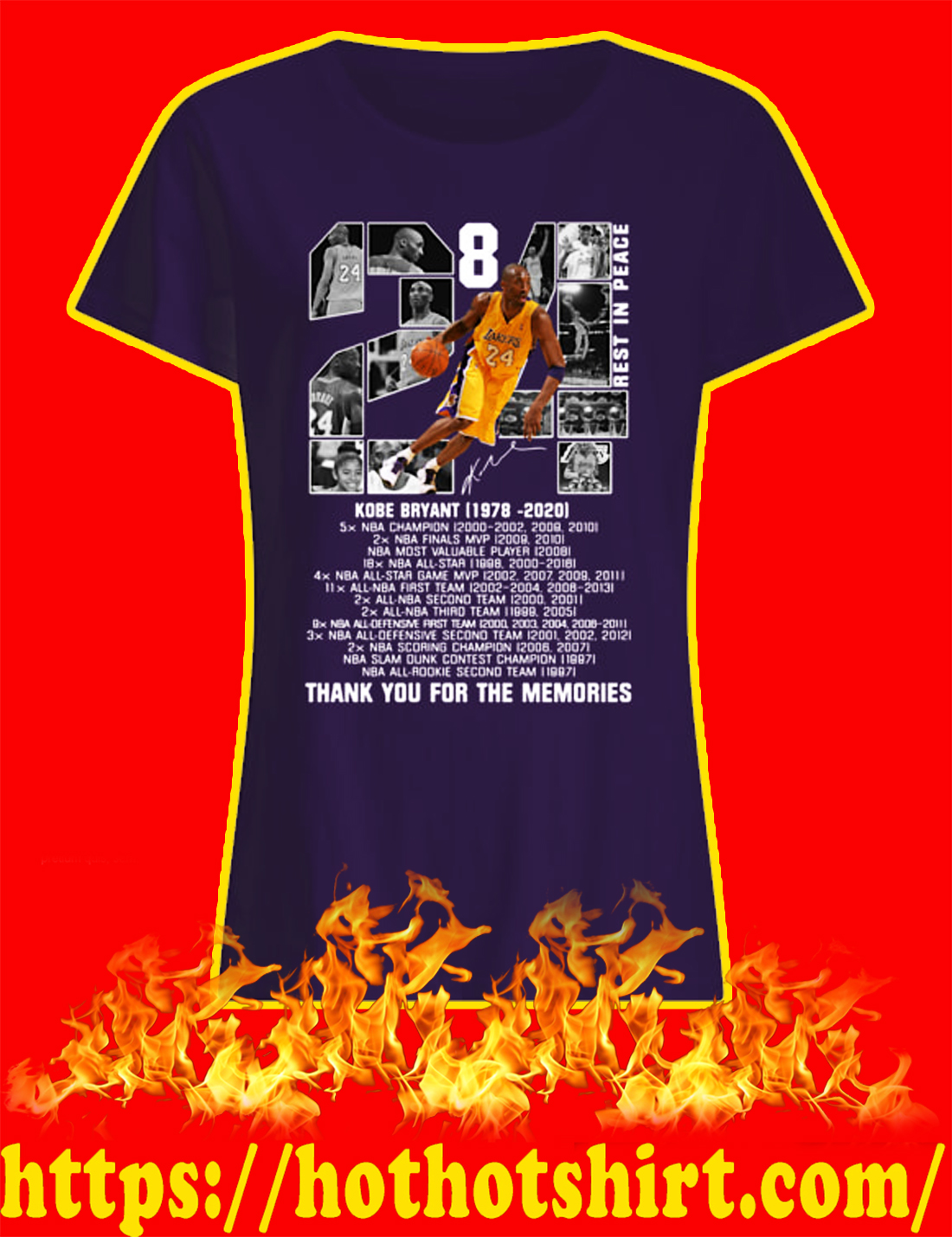 Rip Kobe Bryant 1978 2020 Thank You For The Memories lady shirt