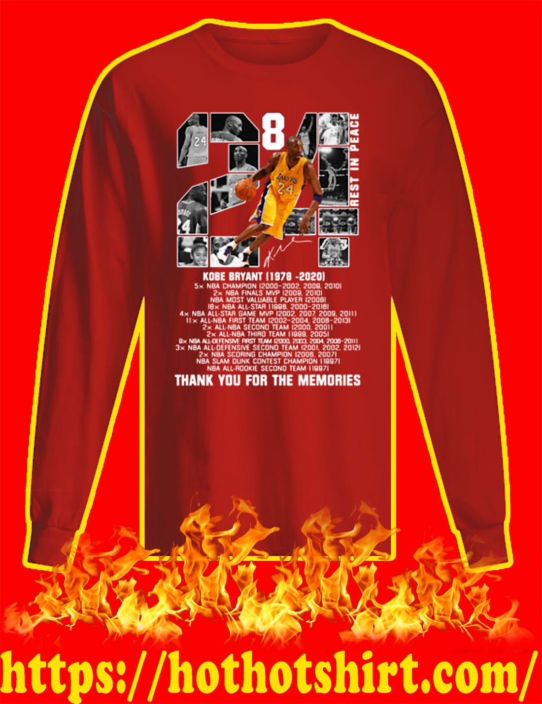 Rip Kobe Bryant 1978 2020 Thank You For The Memories long sleeved T-shirt