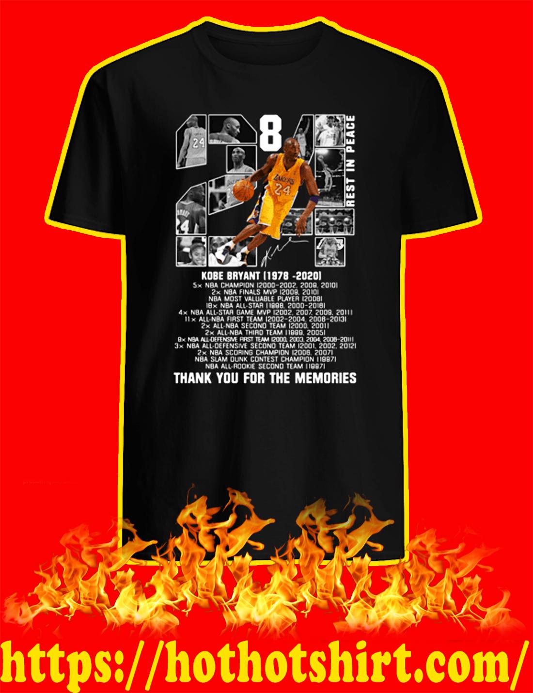 Rip Kobe Bryant 1978 2020 Thank You For The Memories shirt