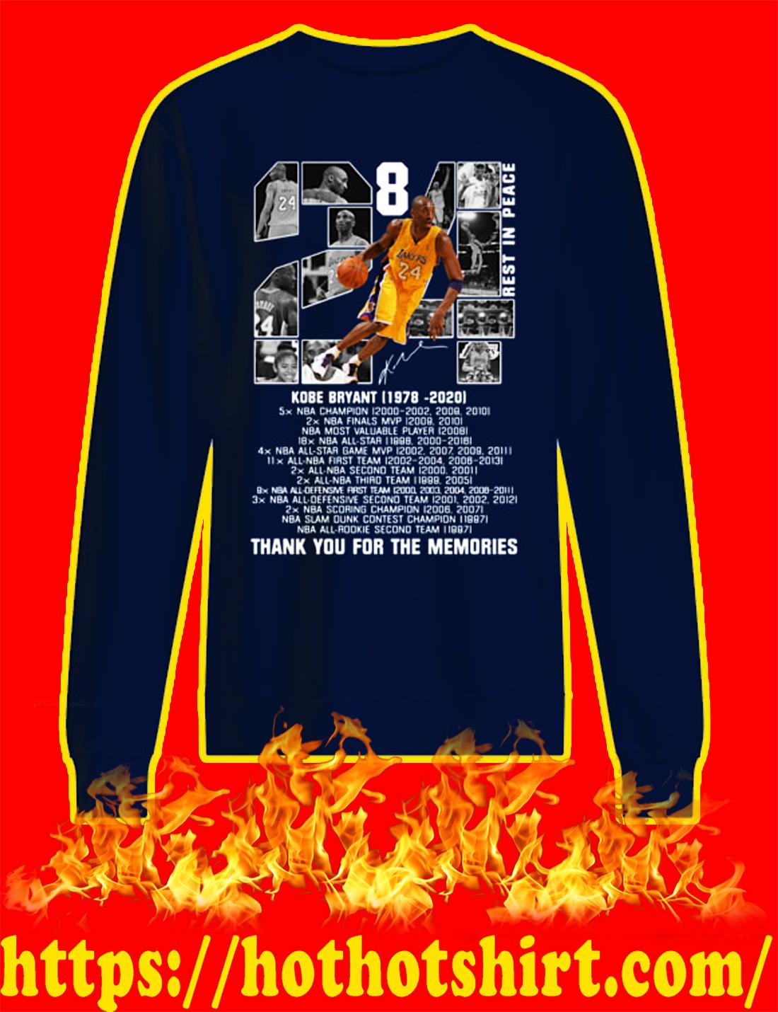 Rip Kobe Bryant 1978 2020 Thank You For The Memories sweatshirt